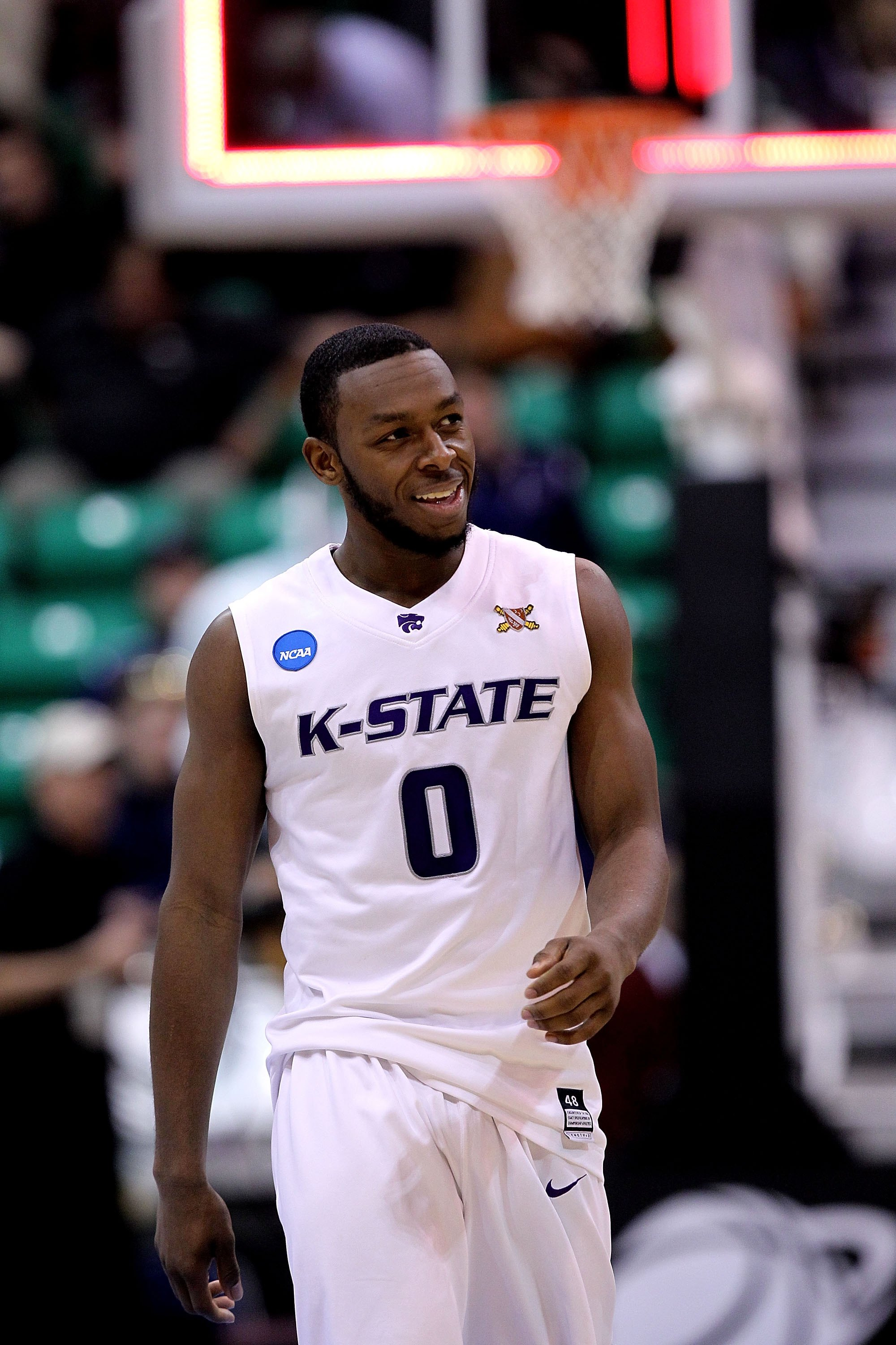 SALT LAKE CITY - MARCH 25:  Jacob Pullen #0 of the Kansas State Wildcats in action against the Xavier Musketeers during the third round of the 2010 NCAA men's basketball tournament at the Energy Solutions Arena on March 25, 2010 in Salt Lake City, Utah.