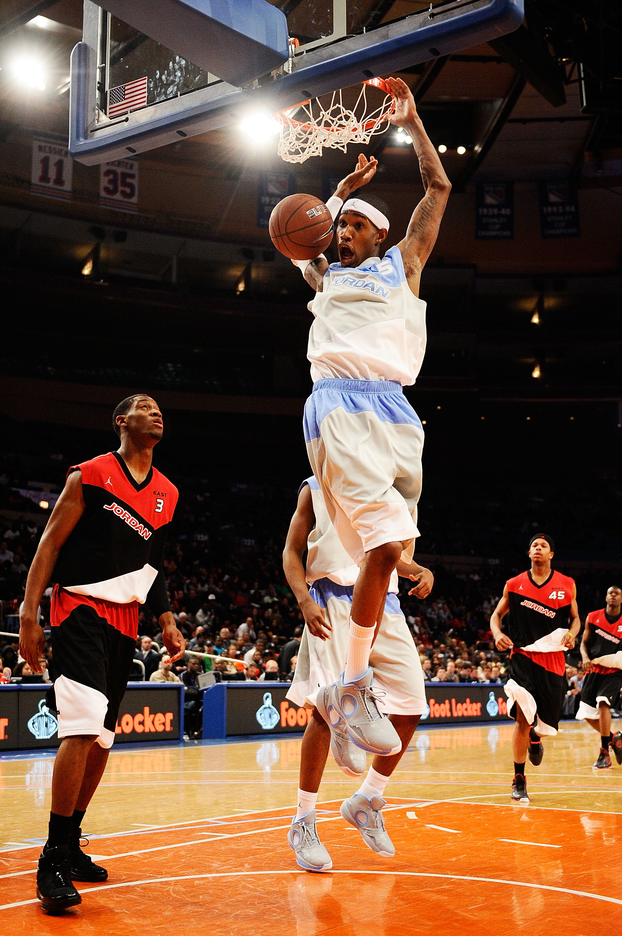 NEW YORK - APRIL 17:  Will Barton #5 of West Team slams a dunk against East Team during the National Game at the 2010 Jordan Brand classic at Madison Square Garden on April 17, 2010 in New York City.  (Photo by Jeff Zelevansky/Getty Images for Jordan Bran
