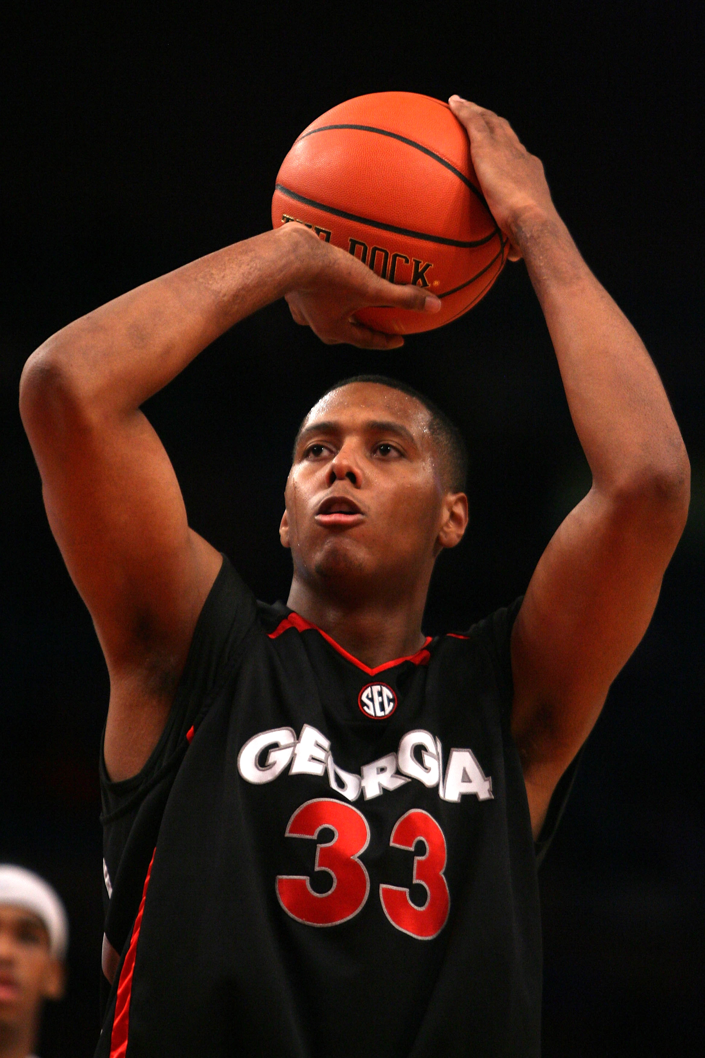 NEW YORK - DECEMBER 09: Trey Thompkins #33 of the Georgia Bulldogs shoots a free throw against the St. John's Red Storm during the SEC Big East Invitational at Madison Square Garden on December 9, 2009 in New York, New York. The Red Storm defeated the Bul