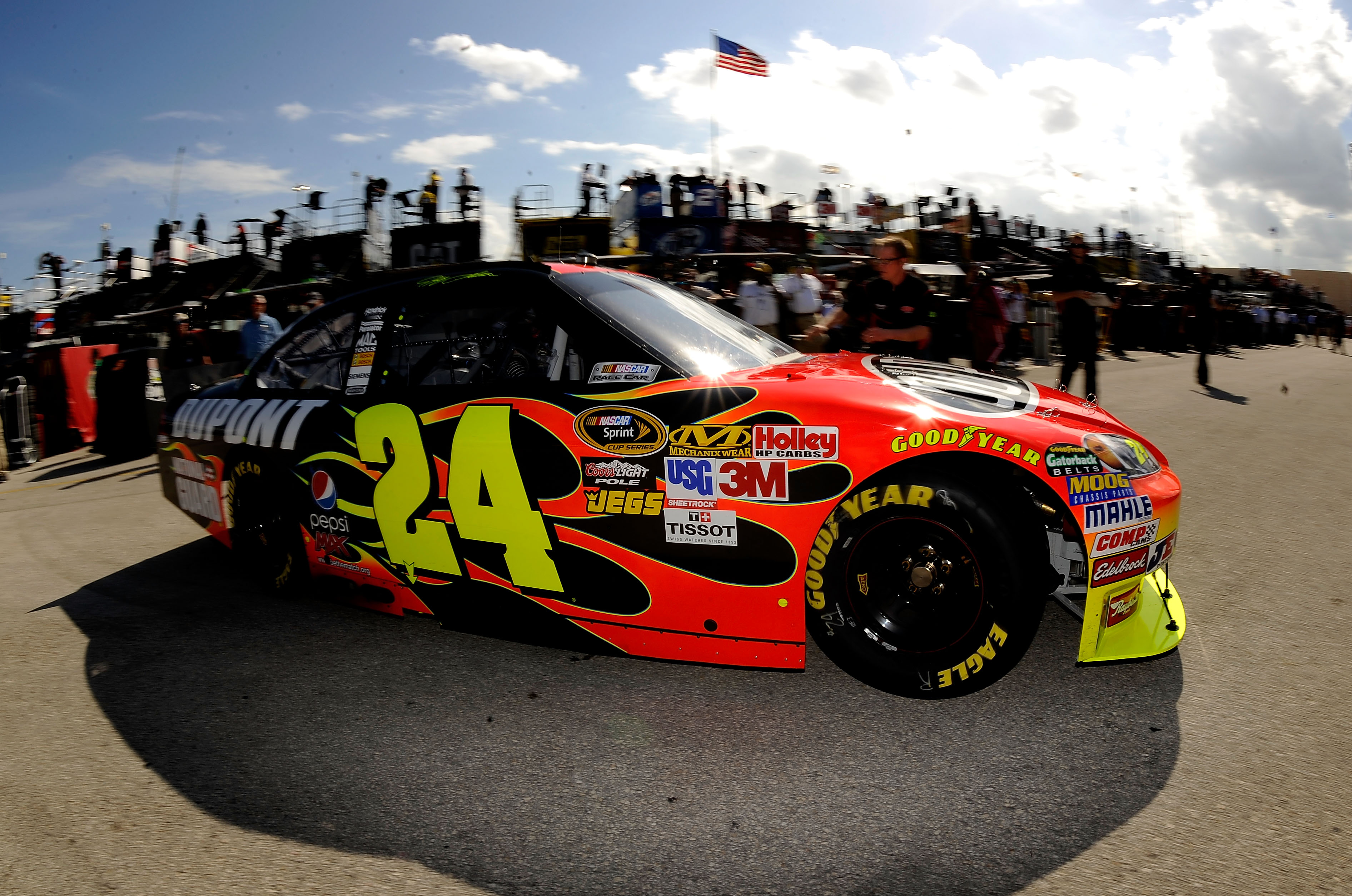 HOMESTEAD, FL - NOVEMBER 20:  Jeff Gordon drives the #24 DuPont Chevrolet through the garage area during practice for the NASCAR Sprint Cup Series Ford 400 at Homestead-Miami Speedway on November 20, 2010 in Homestead, Florida.  (Photo by Rusty Jarrett/Ge
