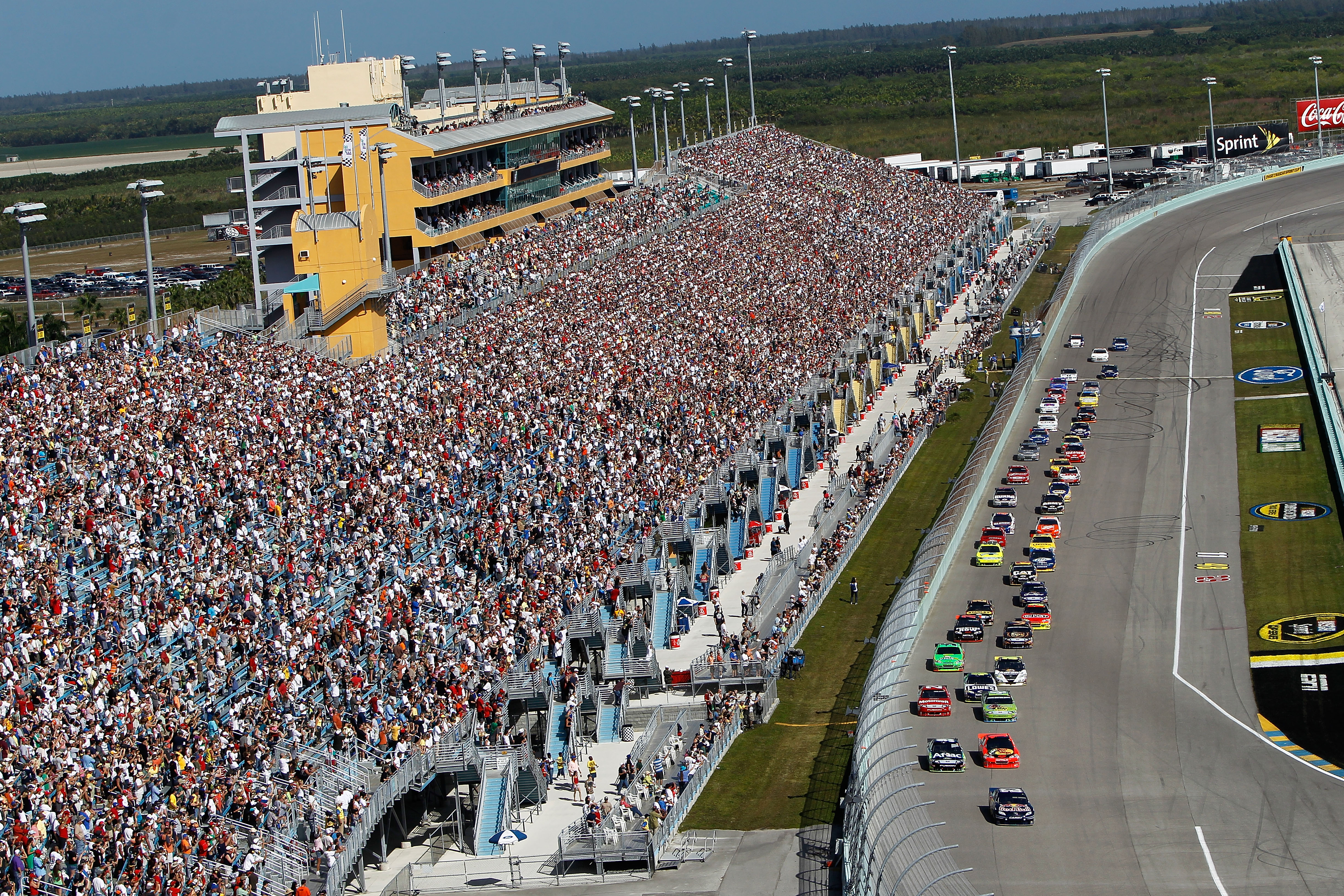 HOMESTEAD, FL - NOVEMBER 21:  A general view of racing during the NASCAR Sprint Cup Series Ford 400 at Homestead-Miami Speedway on November 21, 2010 in Homestead, Florida.  (Photo by Chris Trotman/Getty Images for NASCAR)