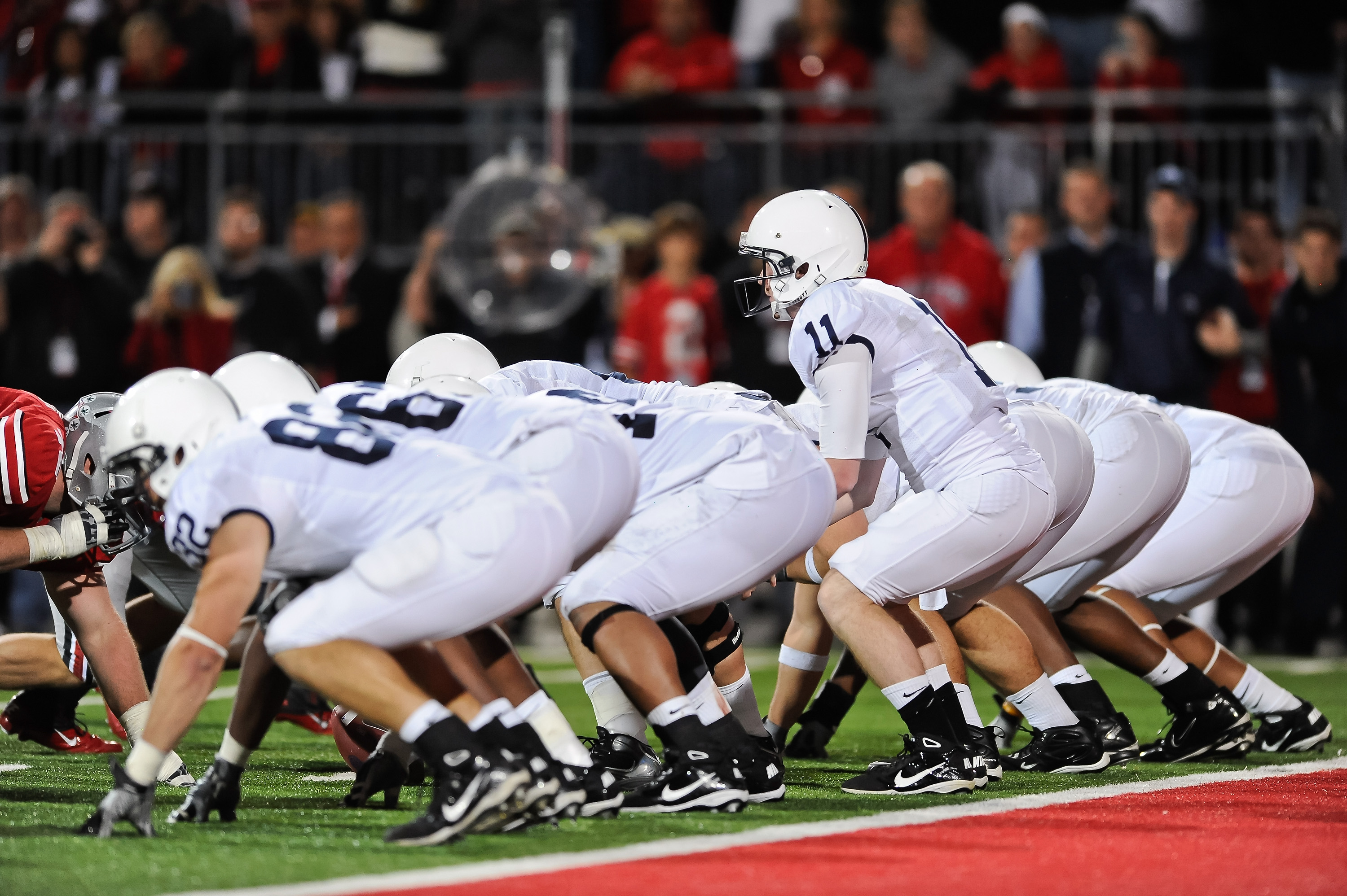 COLUMBUS, OH - NOVEMBER 13:  Quarterback Matt McGloin #11 of the Penn State Nittany Lions takes the snap against the Ohio State Buckeyes at Ohio Stadium on November 13, 2010 in Columbus, Ohio.  (Photo by Jamie Sabau/Getty Images)
