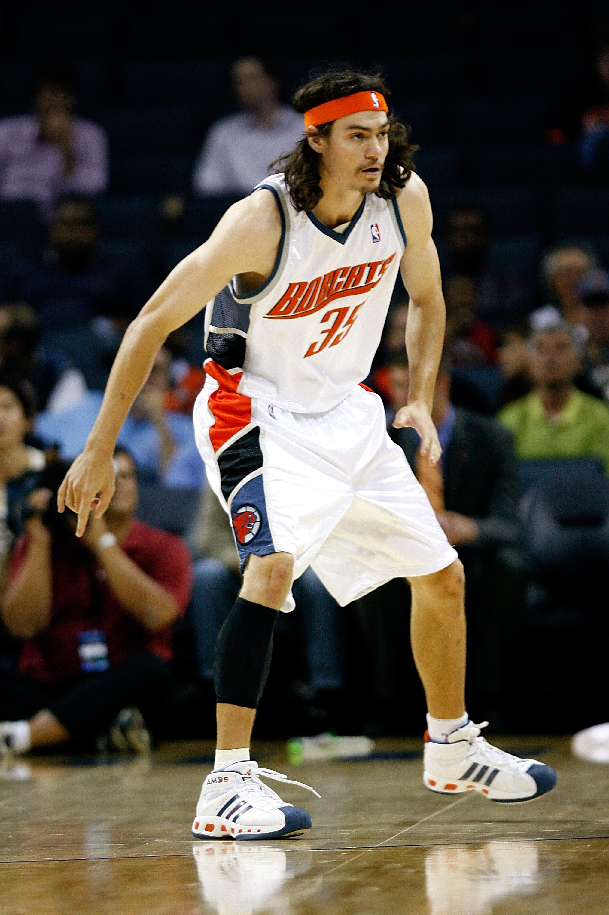 CHARLOTTE, NC - OCTOBER 15:   Adam Morrison #35 of the Charlotte Bobcats waits on defense during the game against the New Jersey Nets at Charlotte Bobcats Arena on October 15, 2007 in Charlotte, North Carolina.  The Bobcats won 96-86.  NOTE TO USER: User