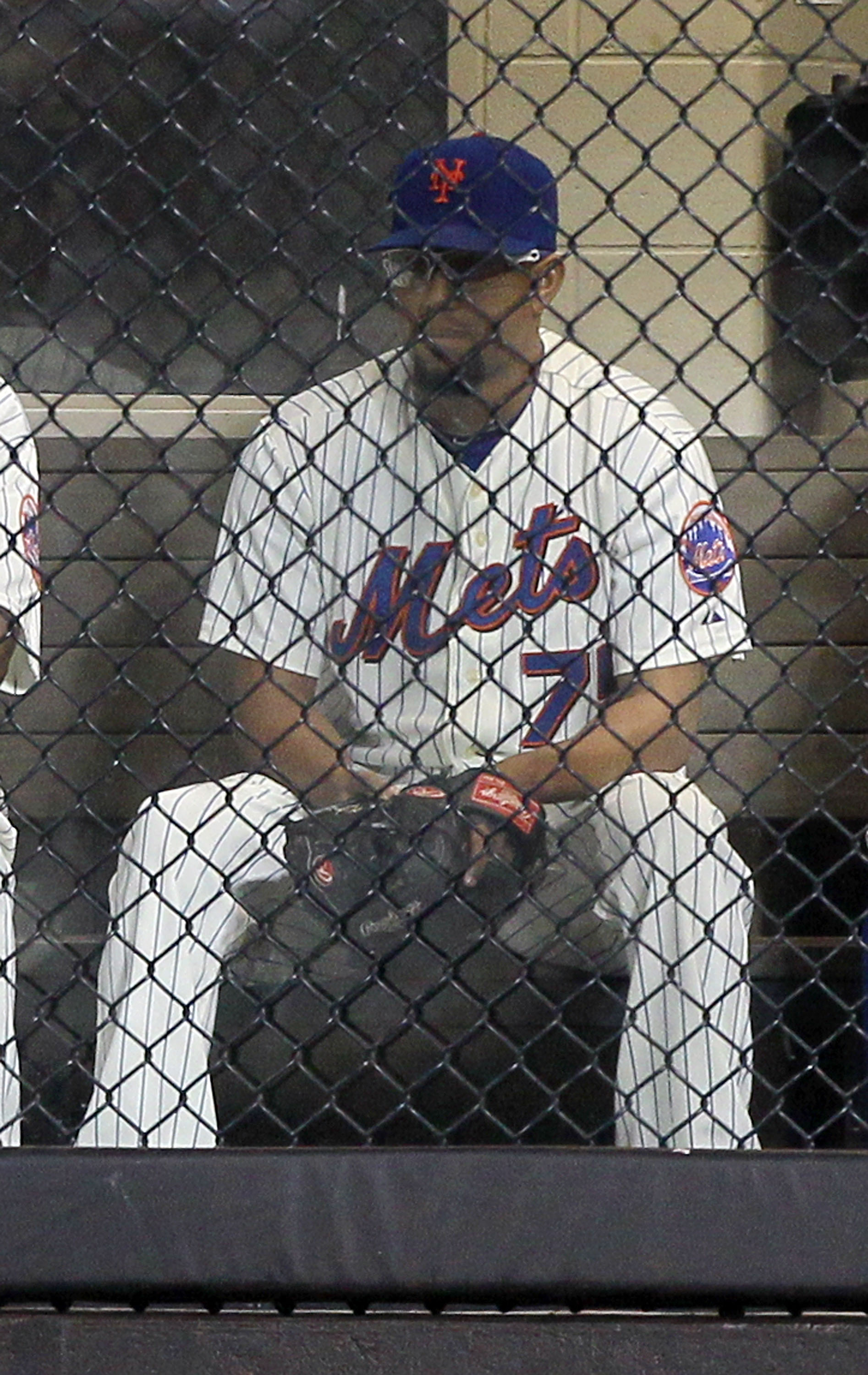 NEW YORK - AUGUST 14:  Francisco Rodriguez #75 of the New York Mets looks on from the bullpen against the Philadelphia Phillies on August 14, 2010 at Citi Field in the Flushing neighborhood of the Queens borough of New York City. The Phillies defeated the