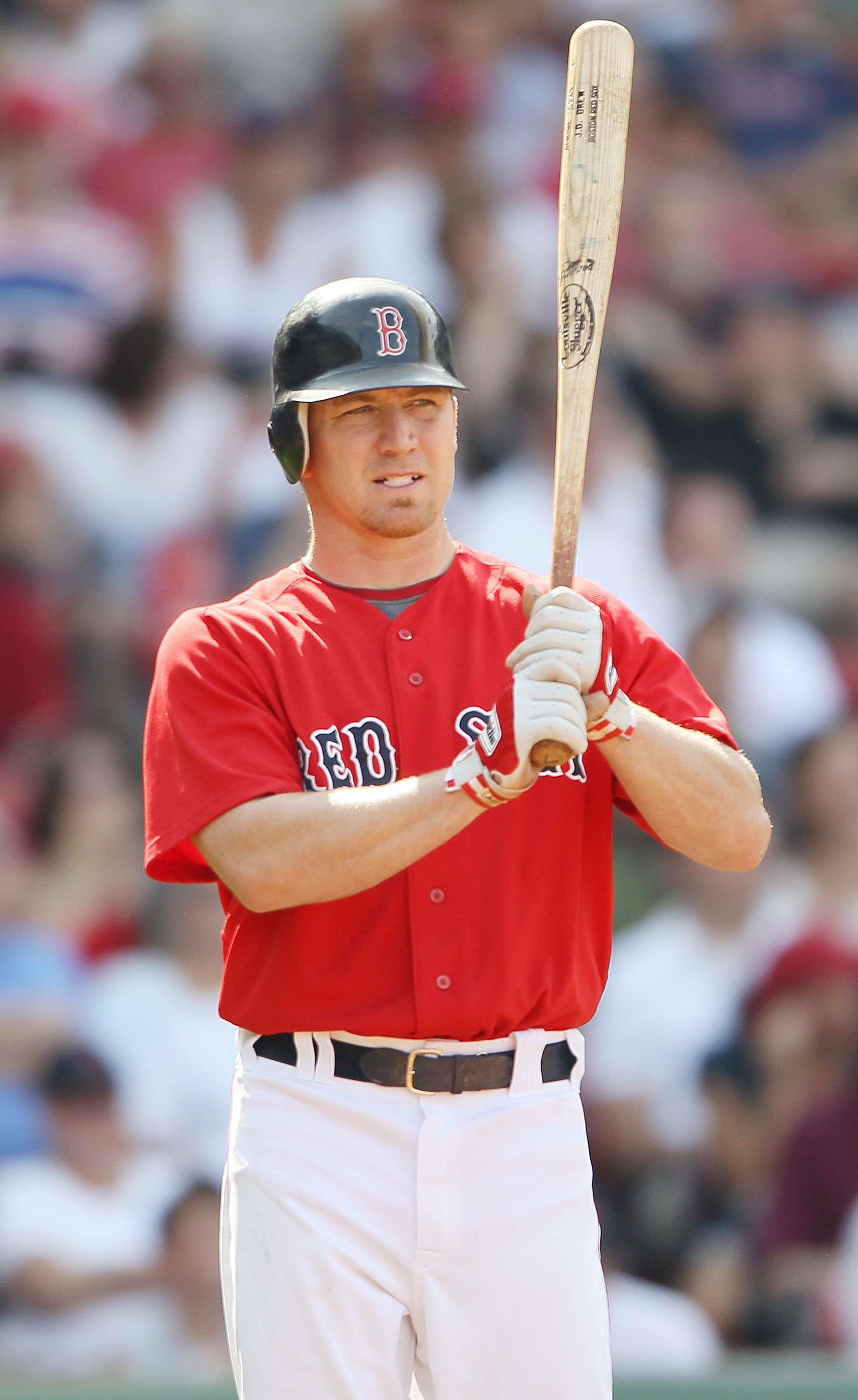 BOSTON - JULY 04:  J.D. Drew #7 of the Boston Red Sox waits on deck against the Baltimore Orioles on July 4, 2010 at Fenway Park in Boston, Massachusetts. The Orioles defeated the Red Sox 6-1.  (Photo by Elsa/Getty Images)