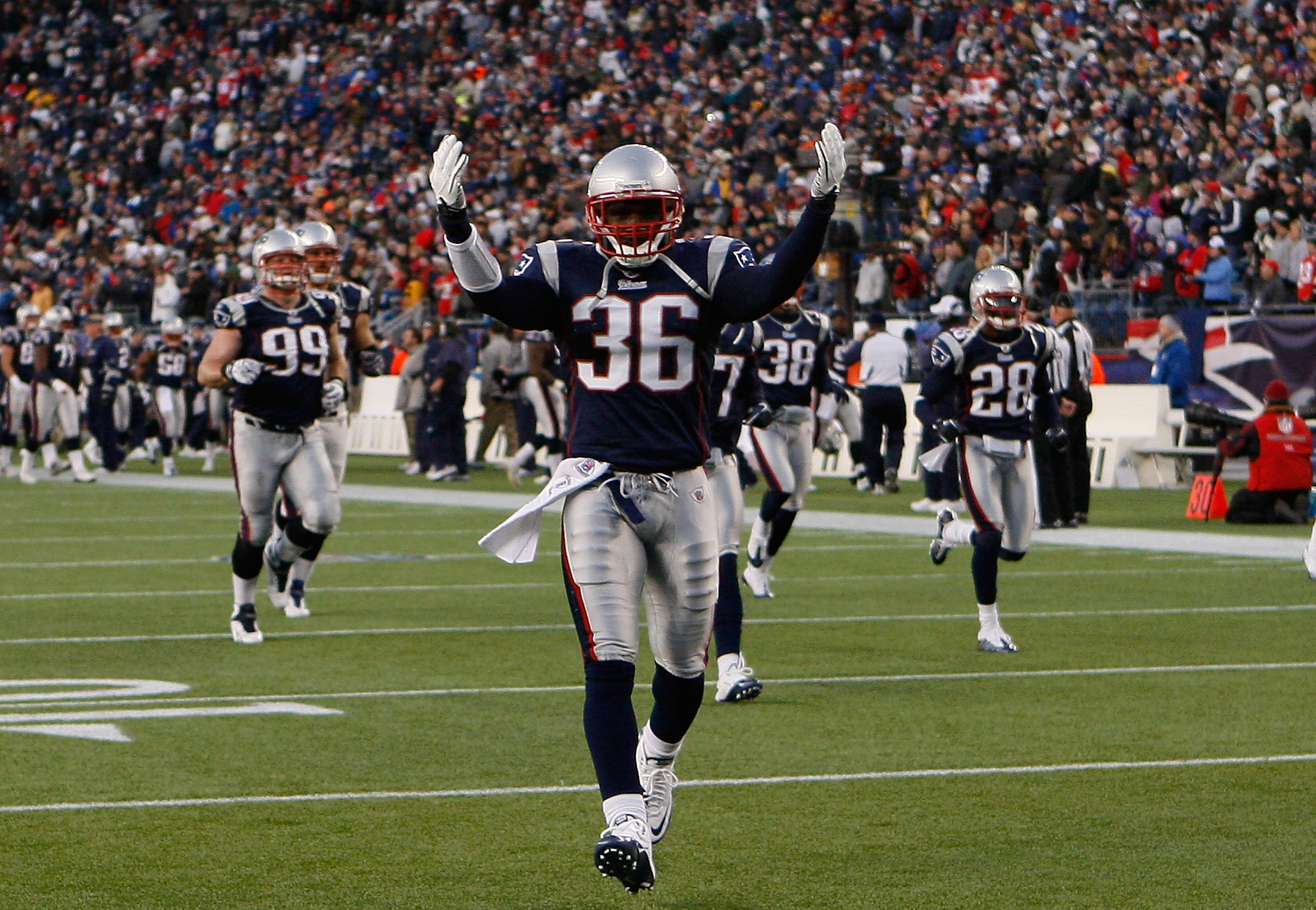 FOXBORO, MA - NOVEMBER 21: James Sanders #36 of the New England Patriots reacts to fans upon running onto the field before a game against the Indianapolis Colts looks on at Gillette Stadium on November 21, 2010 in Foxboro, Massachusetts. The Patriots won