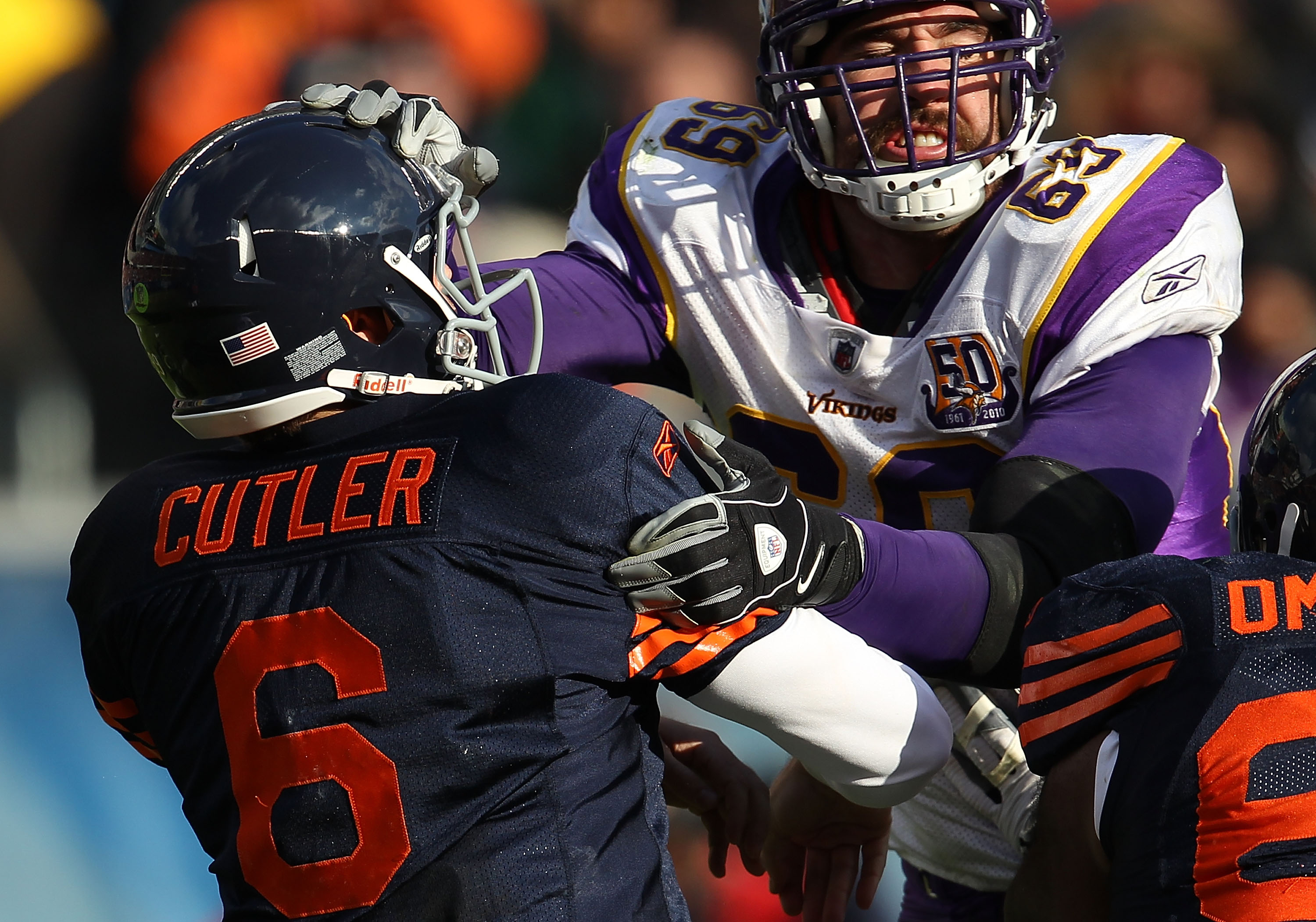 CHICAGO - NOVEMBER 14: Jay Cutler #6 of the Chicago Bears is hit after throwing by Jared Allen #69 of the Minnesota Vikings at Soldier Field on November 14, 2010 in Chicago, Illinois. The Bears defeated the Vikings 27-13. (Photo by Jonathan Daniel/Getty I