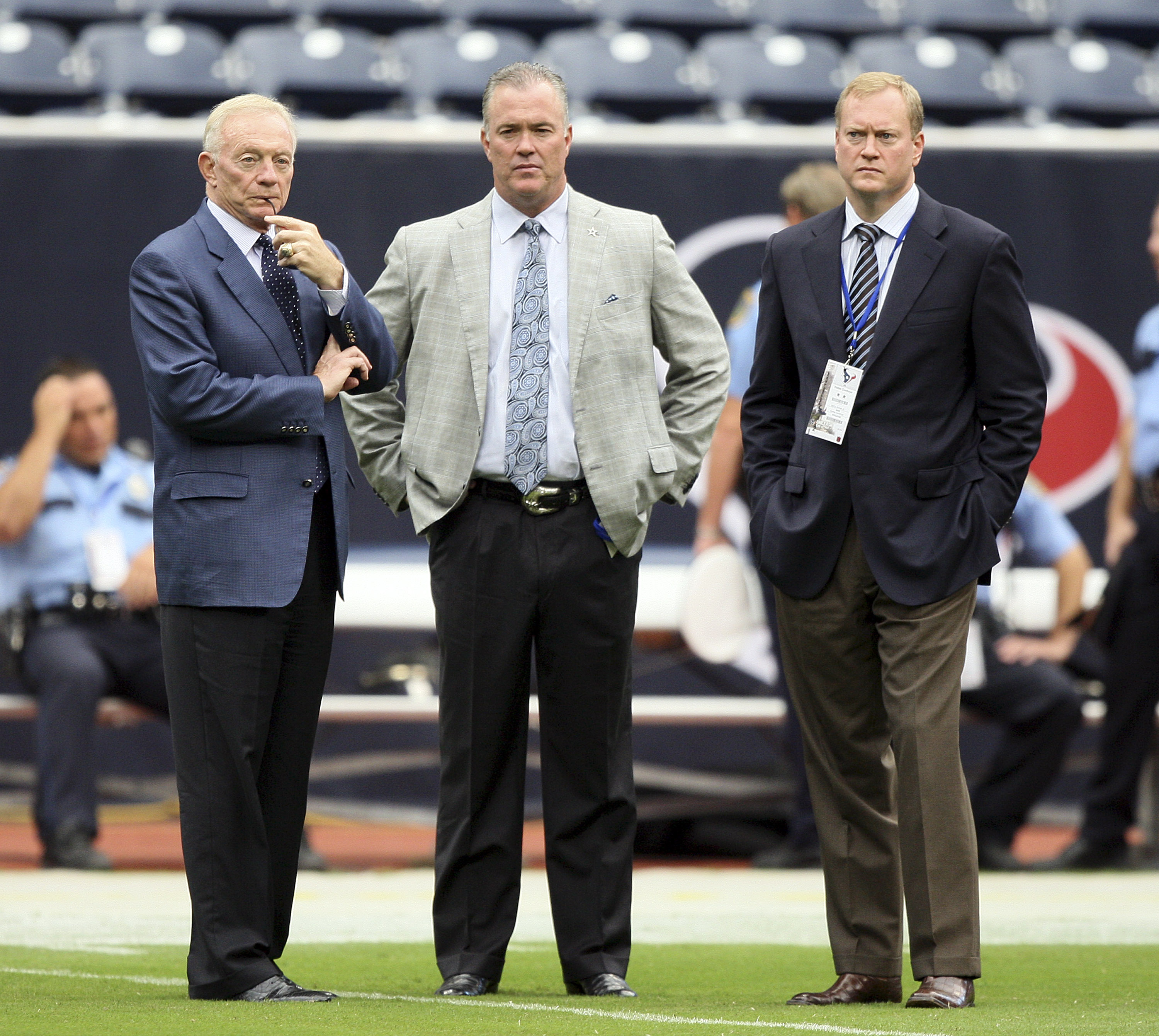 HOUSTON - SEPTEMBER 26:  Dallas Cowboys owner Jerry Jones, left, watches warm ups prior to a game against the Houston Texans with this sons Stephen, center, and Jerry Jr. at Reliant Stadium on September 26, 2010 in Houston, Texas.  (Photo by Bob Levey/Get