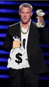 Edited photo depicting Favre and his extra pay day for the 2010 season