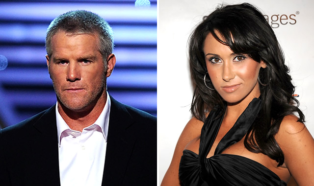 Brett Favre (left) is being investigated into by the NFL regarding conduct with former Jets sideline reporter Jenn Sterger (right