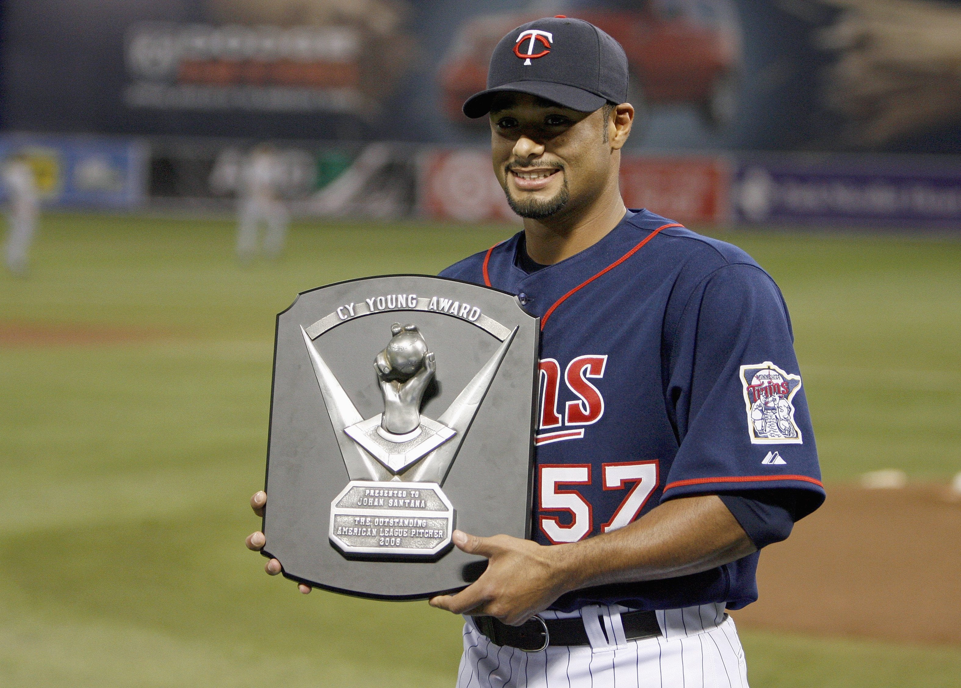 MINNEAPOLIS, MN - APRIL 14: Johan Santana #57 of the Twins receives the 2006 Cy Young Award on April 14, 2007 at the Metrodome in Minneapolis, Minnesota. (Photo by Scott A. Schneider/Getty Images)