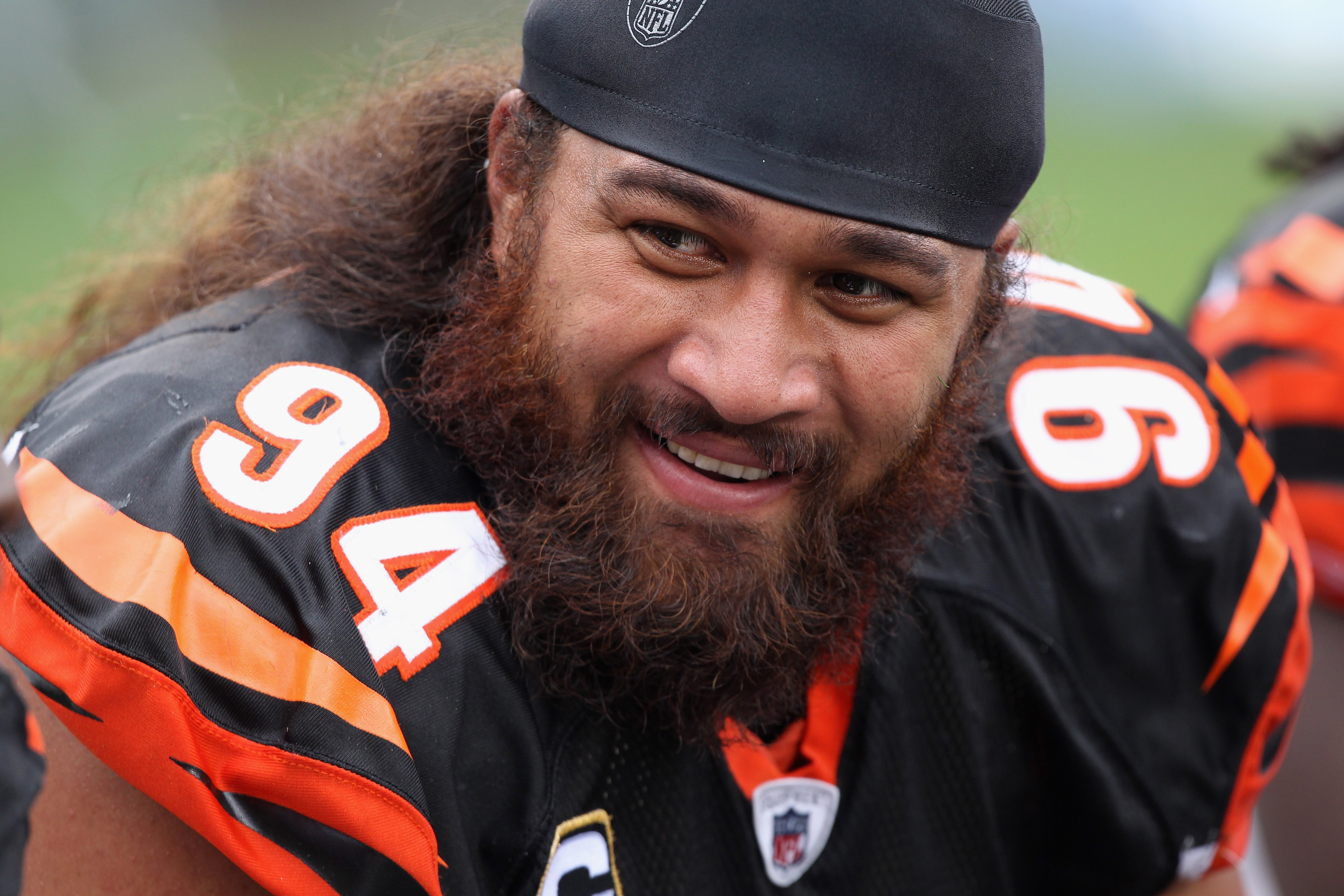 CHARLOTTE, NC - SEPTEMBER 26:  Domata Peko #94 of the Cincinnati Bengals against the Carolina Panthers during their game at Bank of America Stadium on September 26, 2010 in Charlotte, North Carolina.  (Photo by Streeter Lecka/Getty Images)