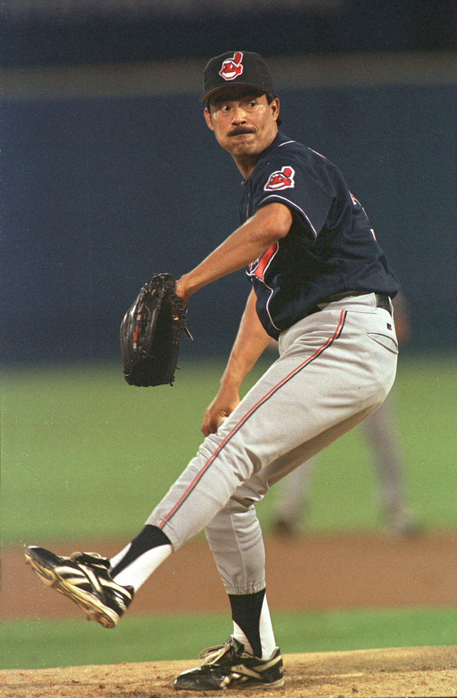 22 Oct 1995:  Pitcher Dennis Martinez of the Cleveland Indians focuses in on home plate as he begins his delivery during the first inning of the Indians game two match up against the Atlanta Braves in the 1995 World Series Championships at Fulton CountySt