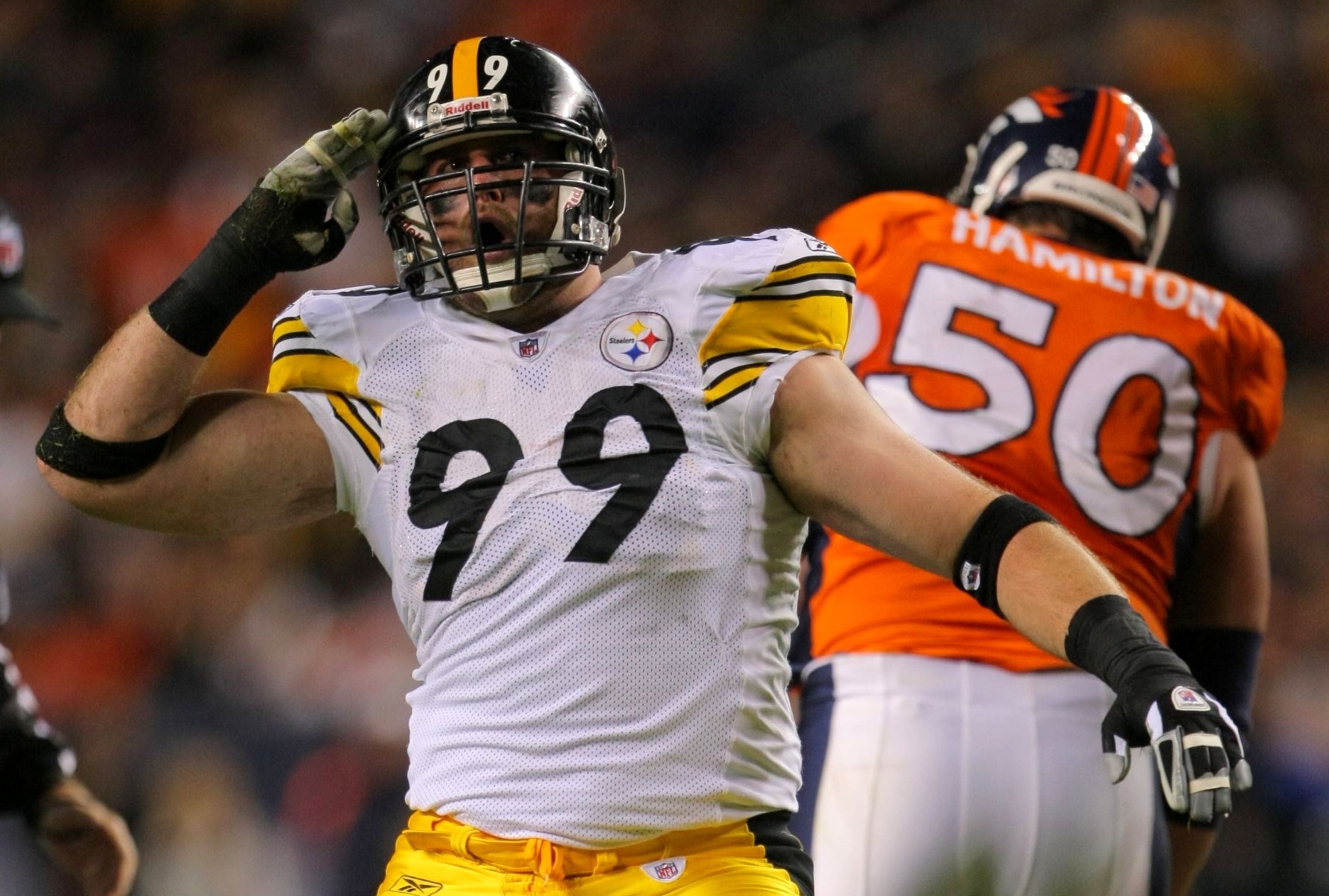 DENVER - NOVEMBER 09: Brett Keisel #99 of the Pittsburgh Steelers celebrates after a sack in the second quarter against the Denver Broncos at Invesco Field at Mile High on November 09, 2009 in Denver, Colorado. (Photo by Doug Pensinger/Getty Images)