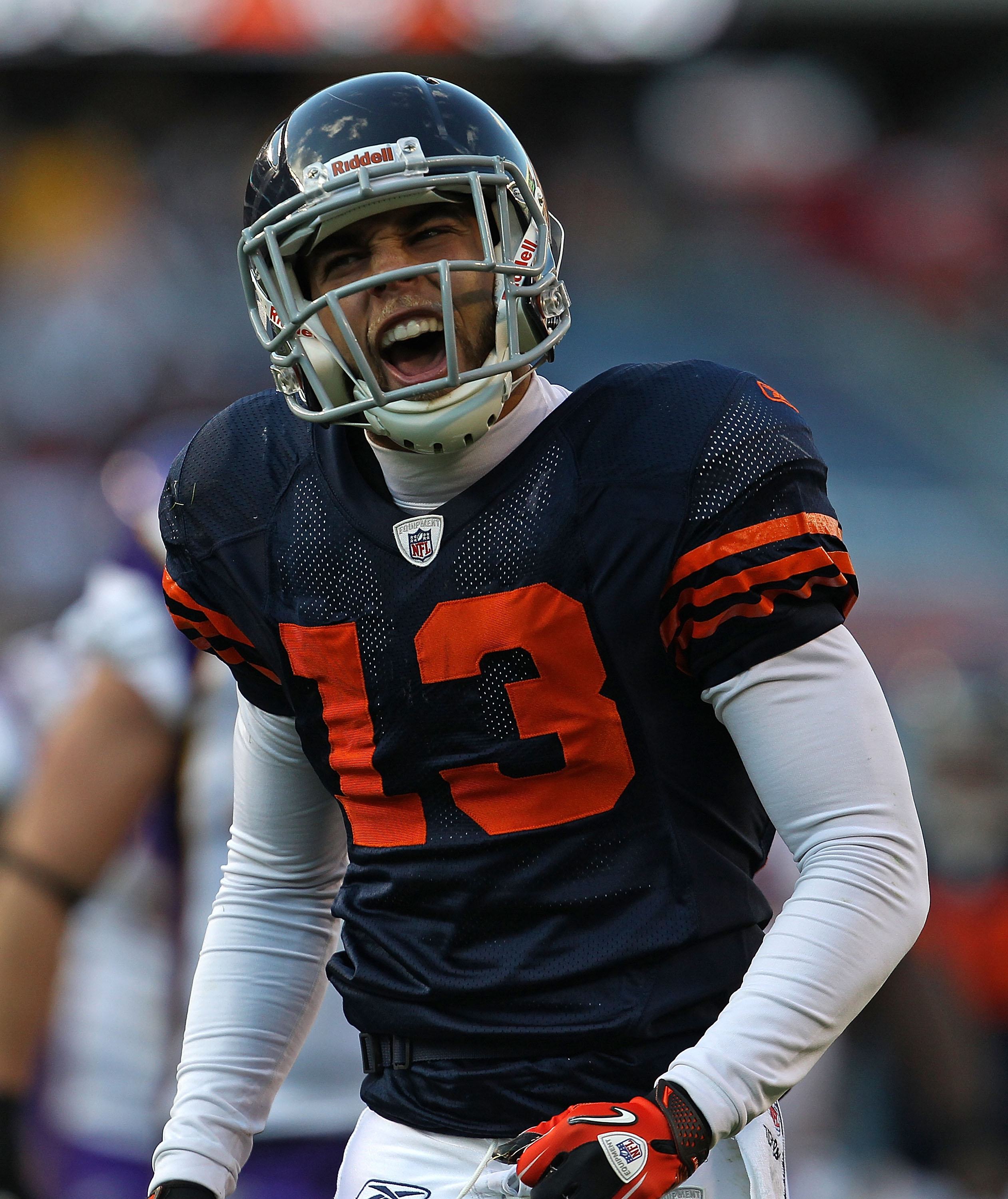 CHICAGO - NOVEMBER 14: Johnny Knox #13 of the Chicago Bears celebrates a first down catch against the Minnesota Vikings at Soldier Field on November 14, 2010 in Chicago, Illinois. The Bears defeated the Vikings 27-13. (Photo by Jonathan Daniel/Getty Image