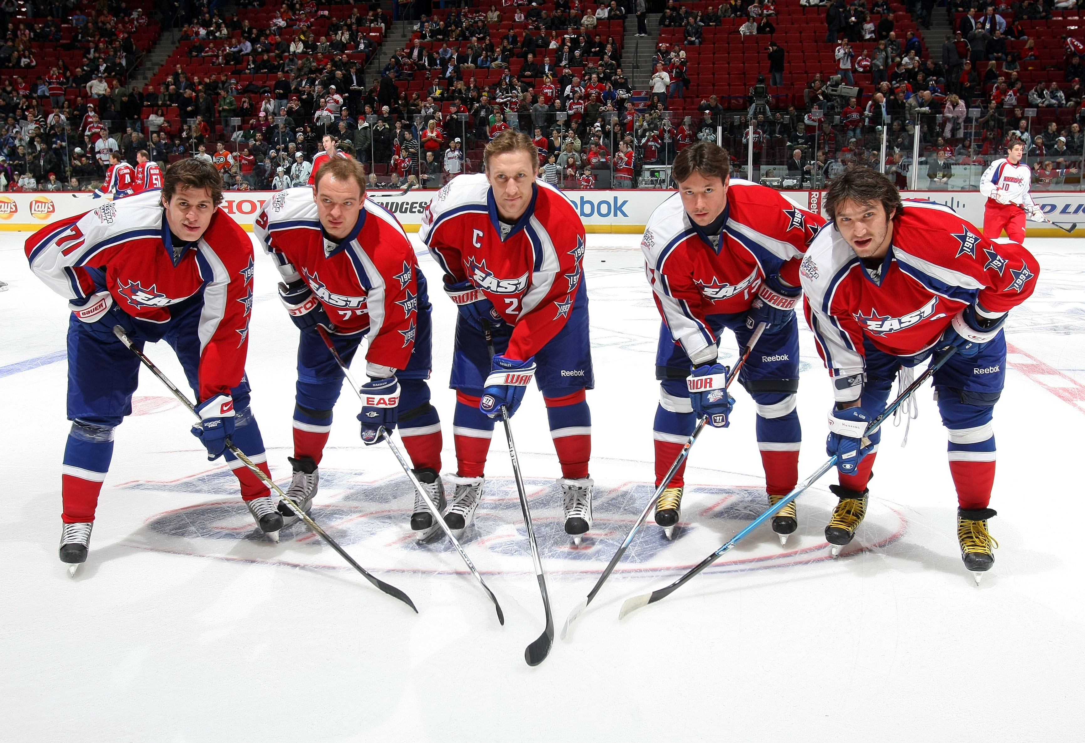 MONTREAL - JANUARY 25:  Evgeni Malkin #71, Andrei Markov #79 , Alex Kovalev #27, Ilya Kovalchuk #17 and Alex Ovechkin #8 of the Eastern Conference All-Stars pose for a photo during the 2009 NHL All-Star game at the Bell Centre on January 25, 2009 in Montr