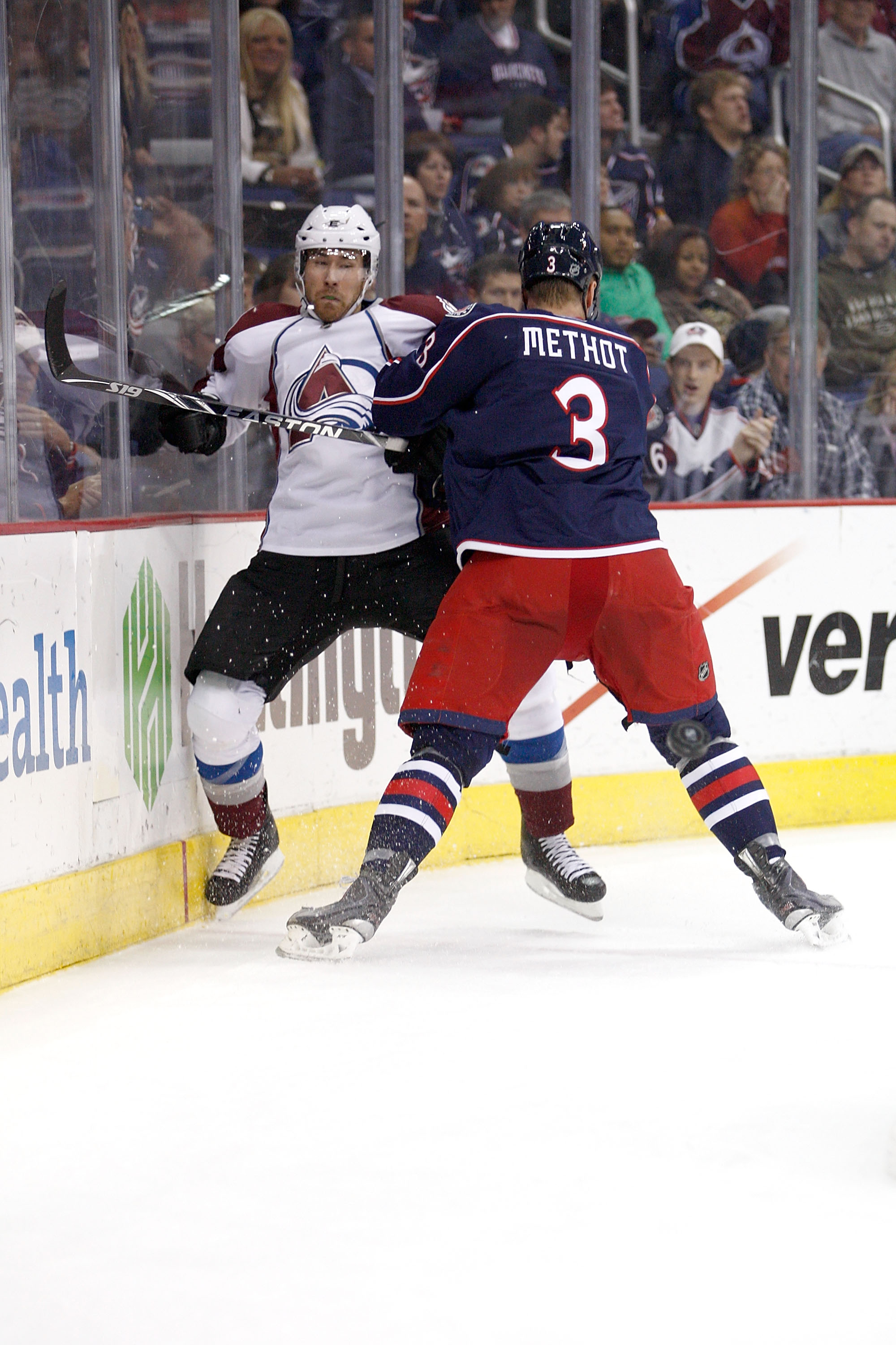 COLUMBUS,OH - NOVEMBER 12:  Marc Methot #3 of the Columbus Blue Jackets checks David Jones #54 of the Colorado Avalanche on November 12, 2010 at Nationwide Arena in Columbus, Ohio.  (Photo by John Grieshop/Getty Images)