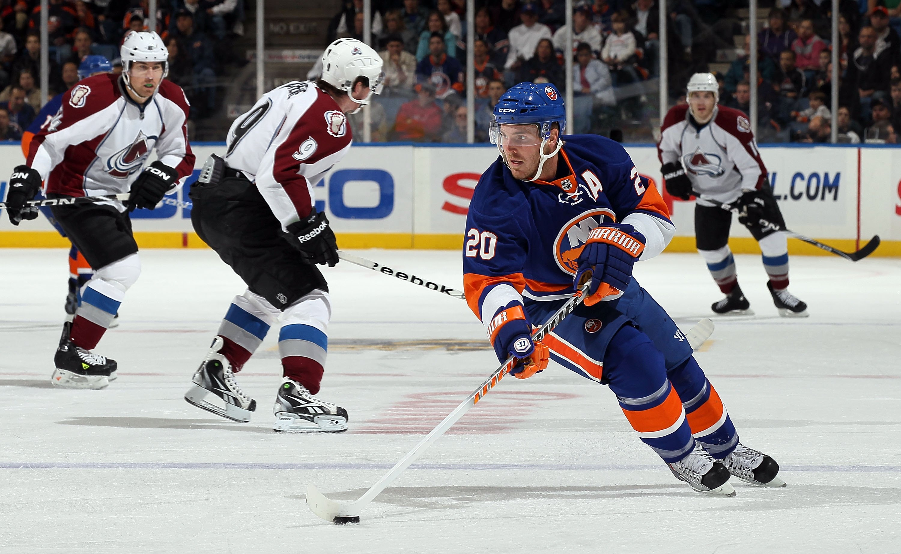 UNIONDALE, NY - OCTOBER 16:  James Wisniewski #20 of the New York Islanders skates against the Colorado Avalanche on October 16, 2010 at Nassau Coliseum in Uniondale, New York. The Isles defeated the Avalanche 5-2.  (Photo by Jim McIsaac/Getty Images)