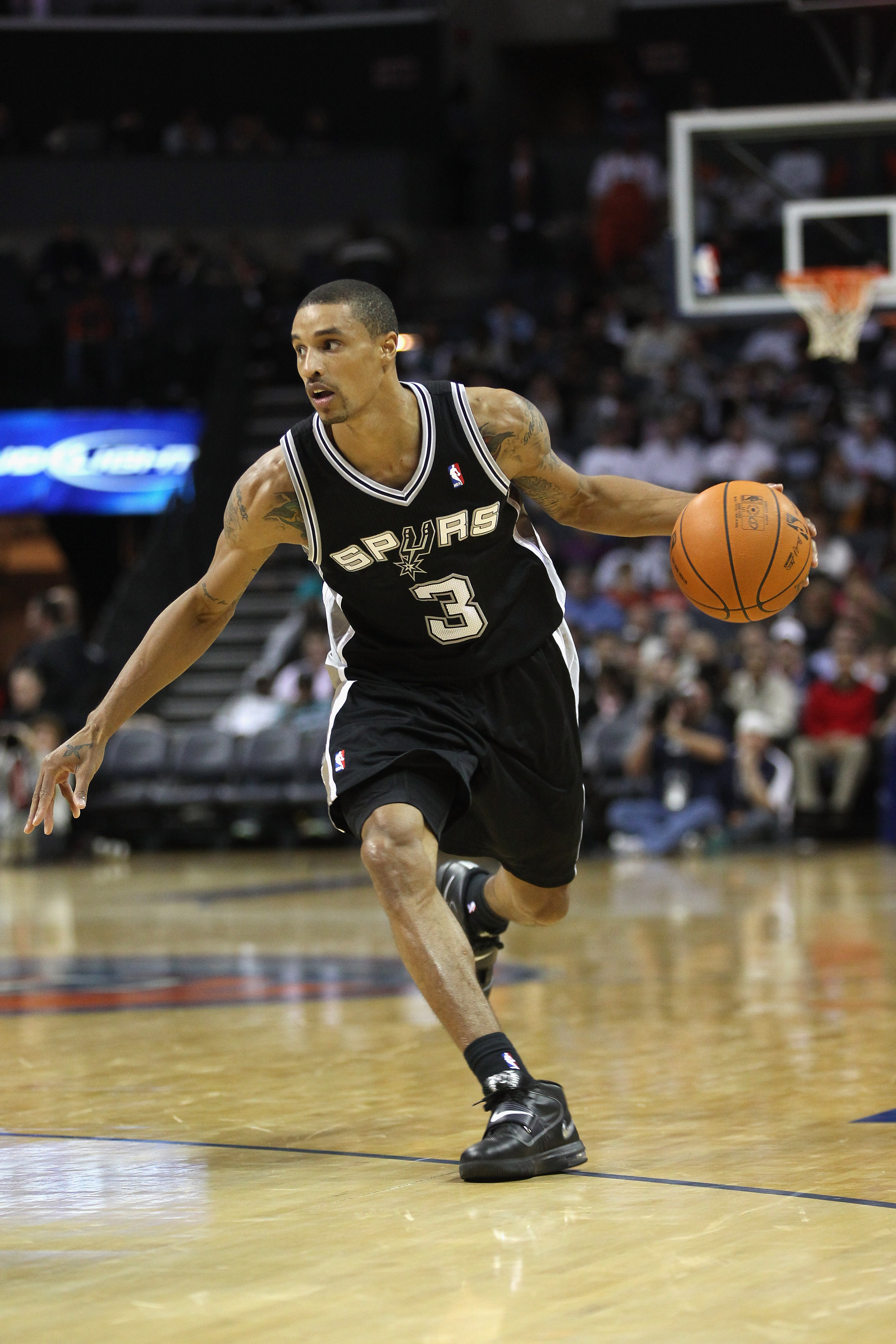 CHARLOTTE, NC - NOVEMBER 08:  George Hill #3 of the San Antonio Spurs against the Charlotte Bobcats during their game at Time Warner Cable Arena on November 8, 2010 in Charlotte, North Carolina.  NOTE TO USER: User expressly acknowledges and agrees that,