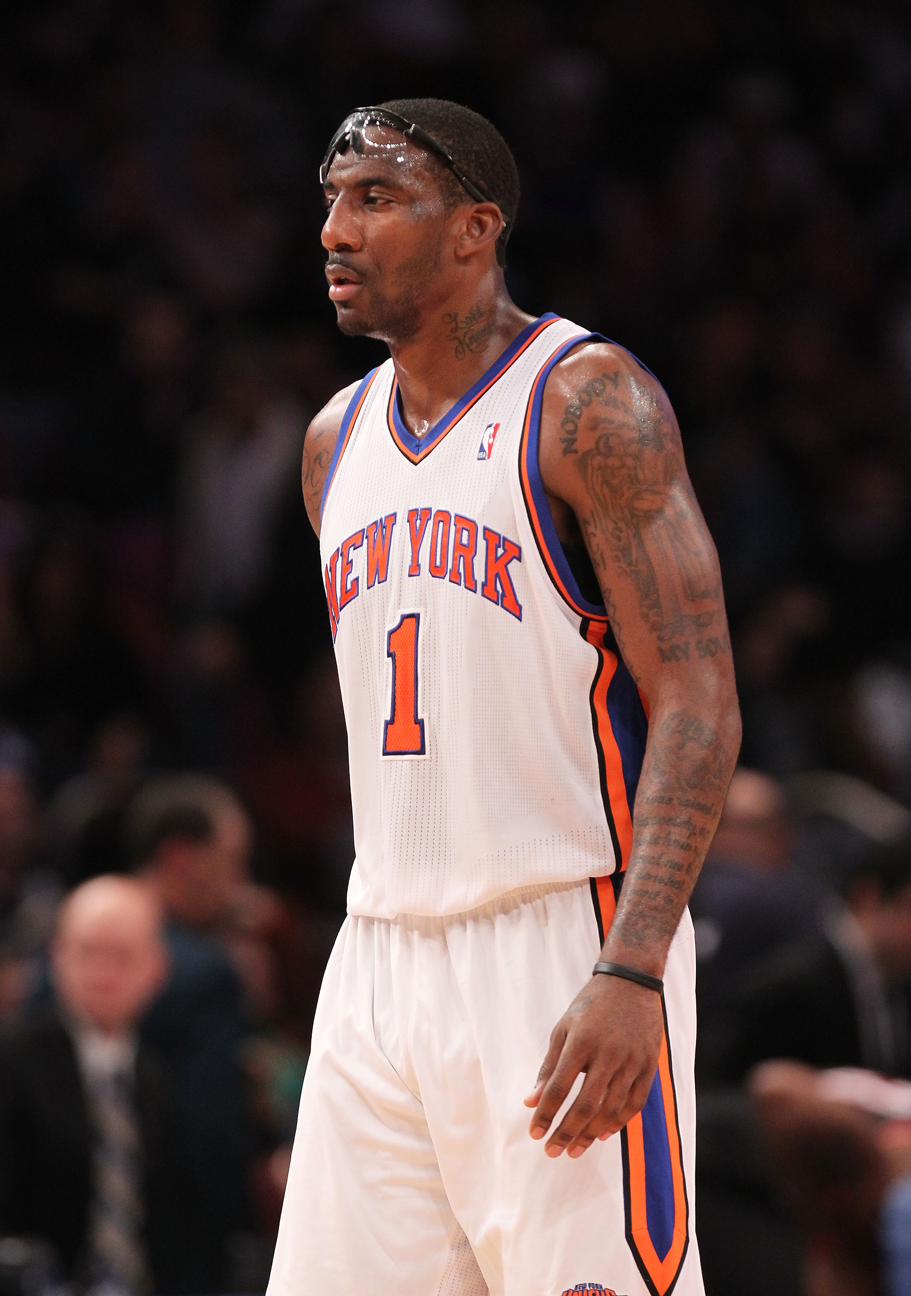 NEW YORK - OCTOBER 30:  Amar'e Stoudemire #1 of the New York Knicks walks down the court against the Portland Trail Blazers at Madison Square Garden on October 30, 2010 in New York City. NOTE TO USER: User expressly acknowledges and agrees that, by downlo