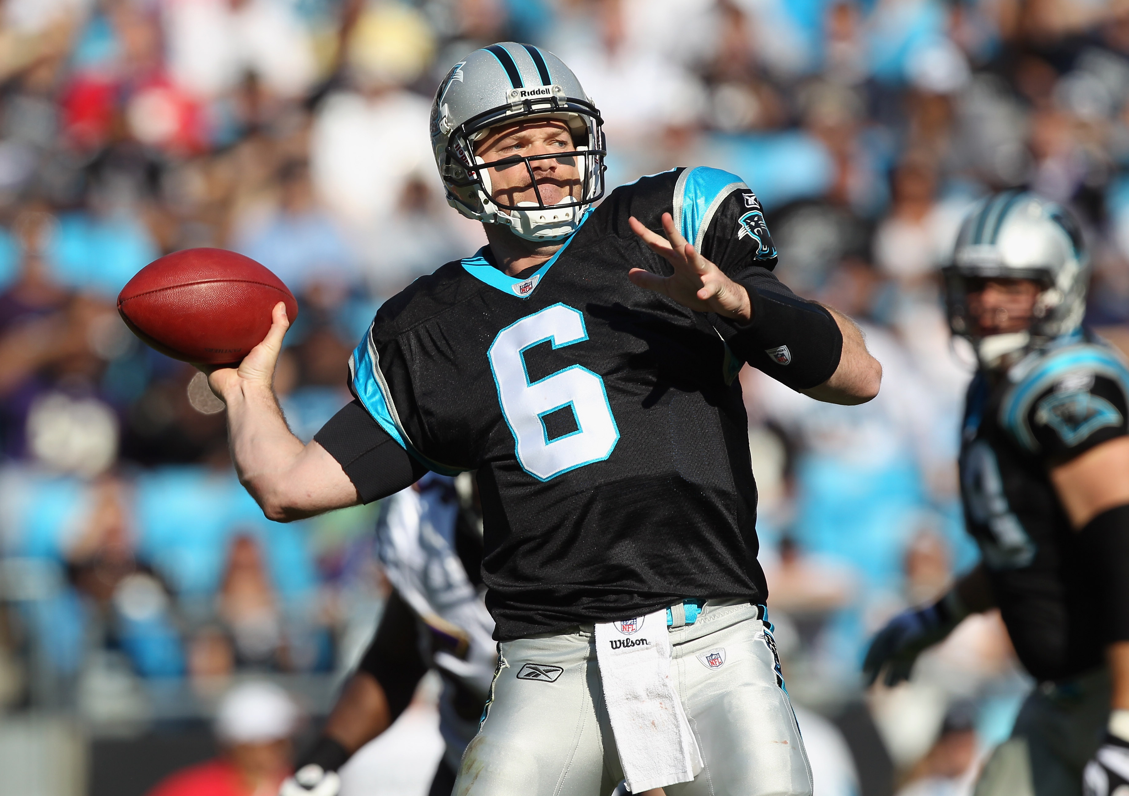 CHARLOTTE, NC - NOVEMBER 21:  Brian St. Pierre #6 of the Carolina Panthers drops back to throw a pass against the Baltimore Ravens at Bank of America Stadium on November 21, 2010 in Charlotte, North Carolina.  (Photo by Streeter Lecka/Getty Images)