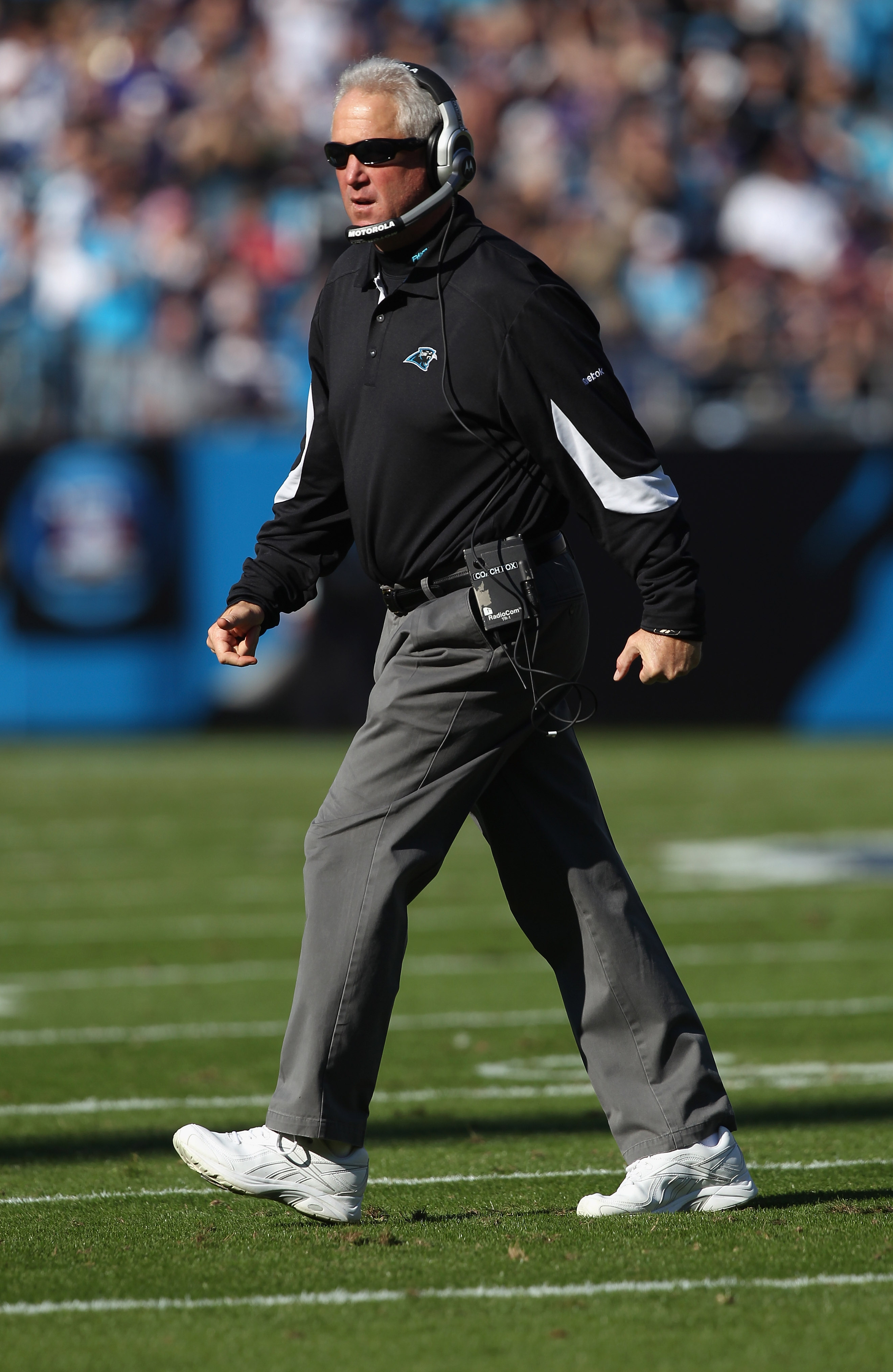 CHARLOTTE, NC - NOVEMBER 21:  Head coach John Fox of the Carolina Panthers walks off the field against the Baltimore Ravens at Bank of America Stadium on November 21, 2010 in Charlotte, North Carolina.  (Photo by Streeter Lecka/Getty Images)