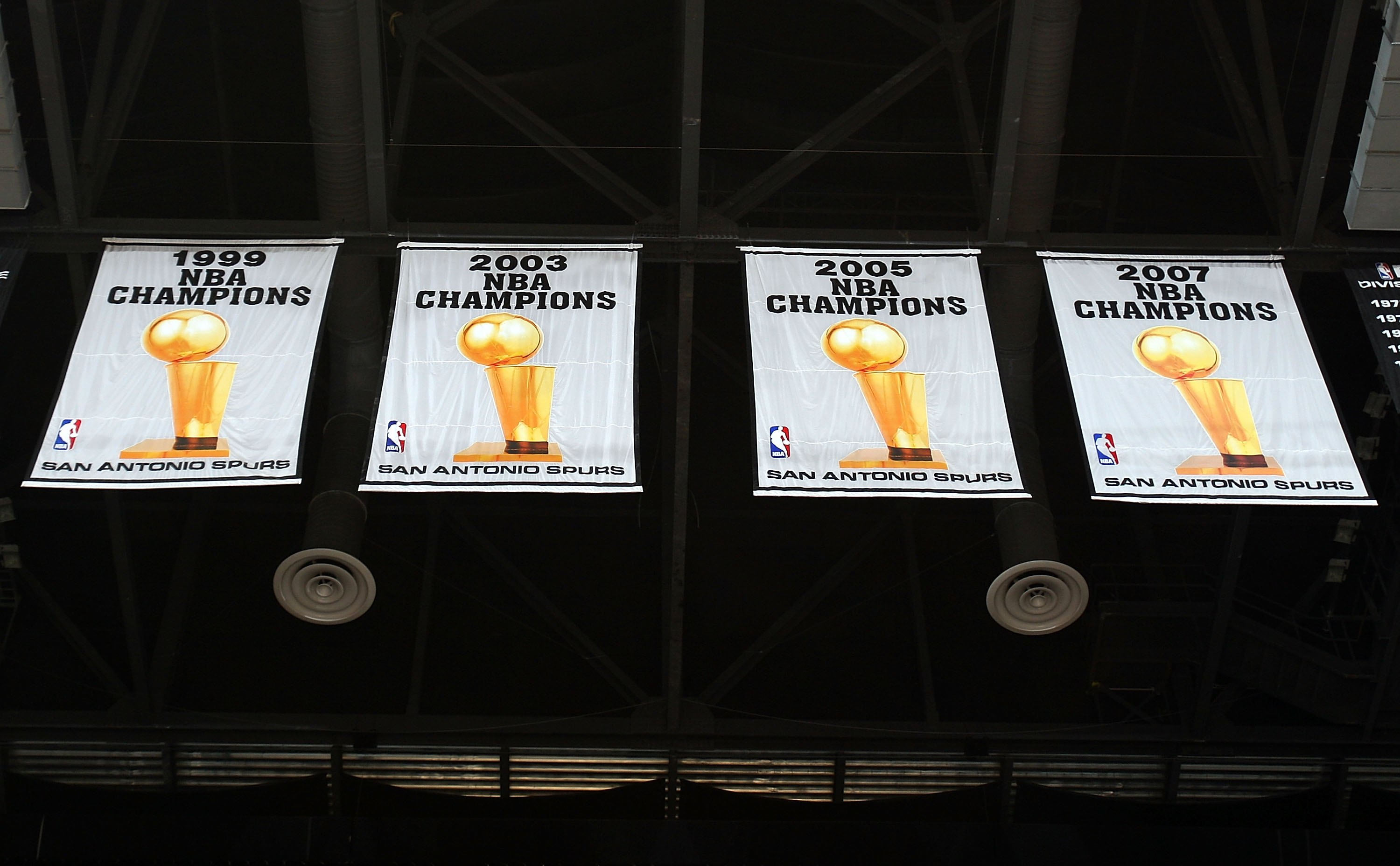 SAN ANTONIO - APRIL 18:  NBA Championship banners of the San Antonio Spurs after Game One of the Western Conference Quarterfinals during the 2009 NBA Playoffs at AT&T Center on April 18, 2009 in San Antonio, Texas. NOTE TO USER: User expressly acknowledge