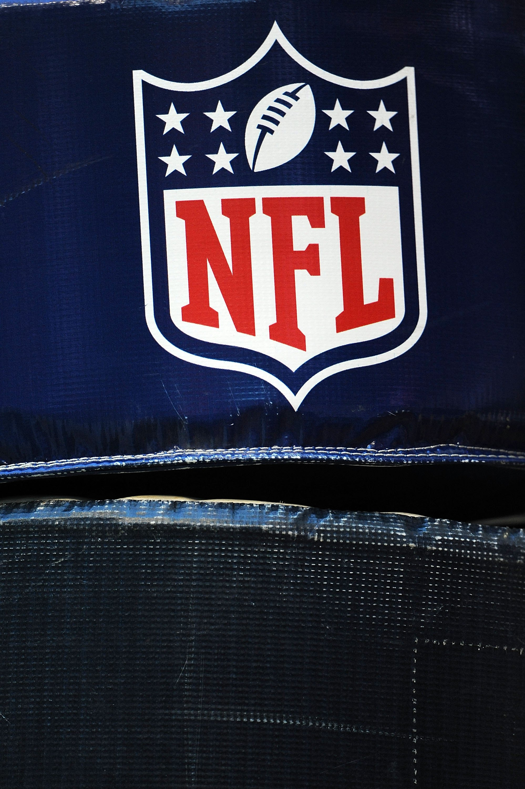 HOUSTON - NOVEMBER 09:  The NFL shield logo on the goal post during play between the Baltimore Ravens and the Houston Texans at Reliant Stadium on November 9, 2008 in Houston, Texas.  (Photo by Ronald Martinez/Getty Images)