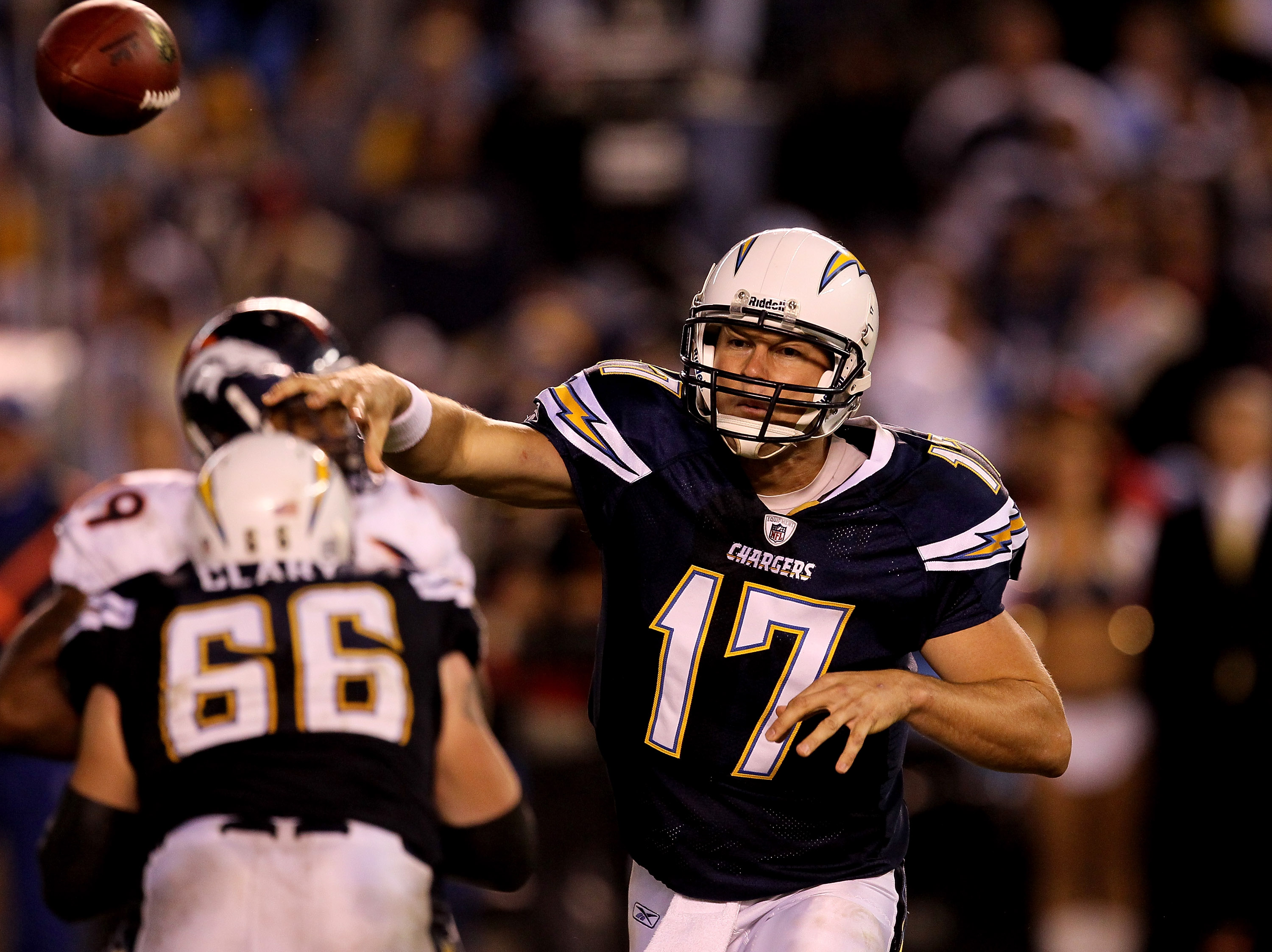 SAN DIEGO - NOVEMBER 22:  Quarterback Philip Rivers #17 of the San Diego Chargers throws a pass against the Denver Broncos at Qualcomm Stadium on November 22, 2010 in San Diego, California. The Chargers won 35-14.  (Photo by Stephen Dunn/Getty Images)