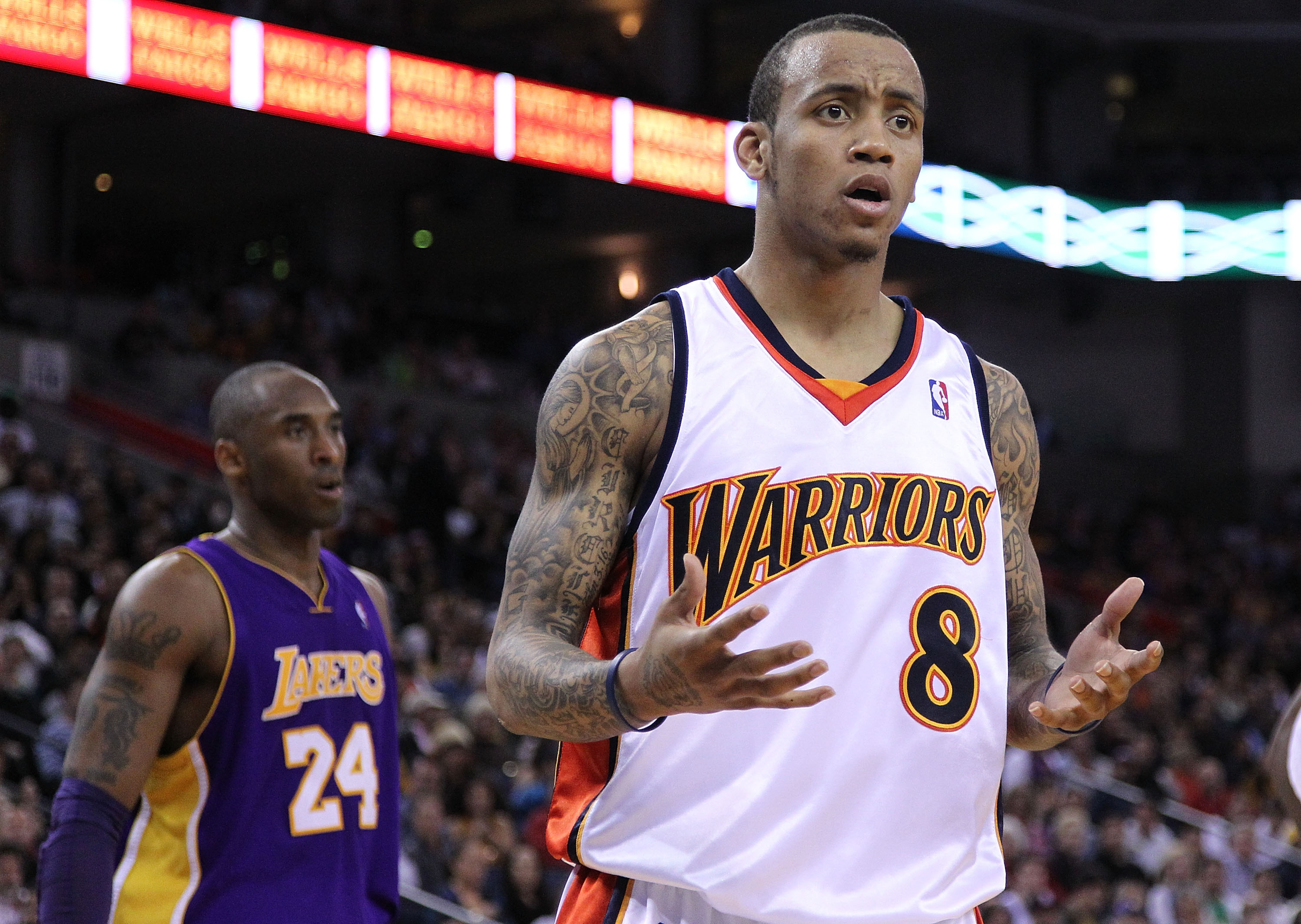 OAKLAND, CA - MARCH 15:  Monta Ellis #8 of the Golden State Warriors reacts to a call during action against the Los Angeles Lakers during an NBA game at Oracle Arena on March 15, 2010 in Oakland, California. NOTE TO USER: User expressly acknowledges and a