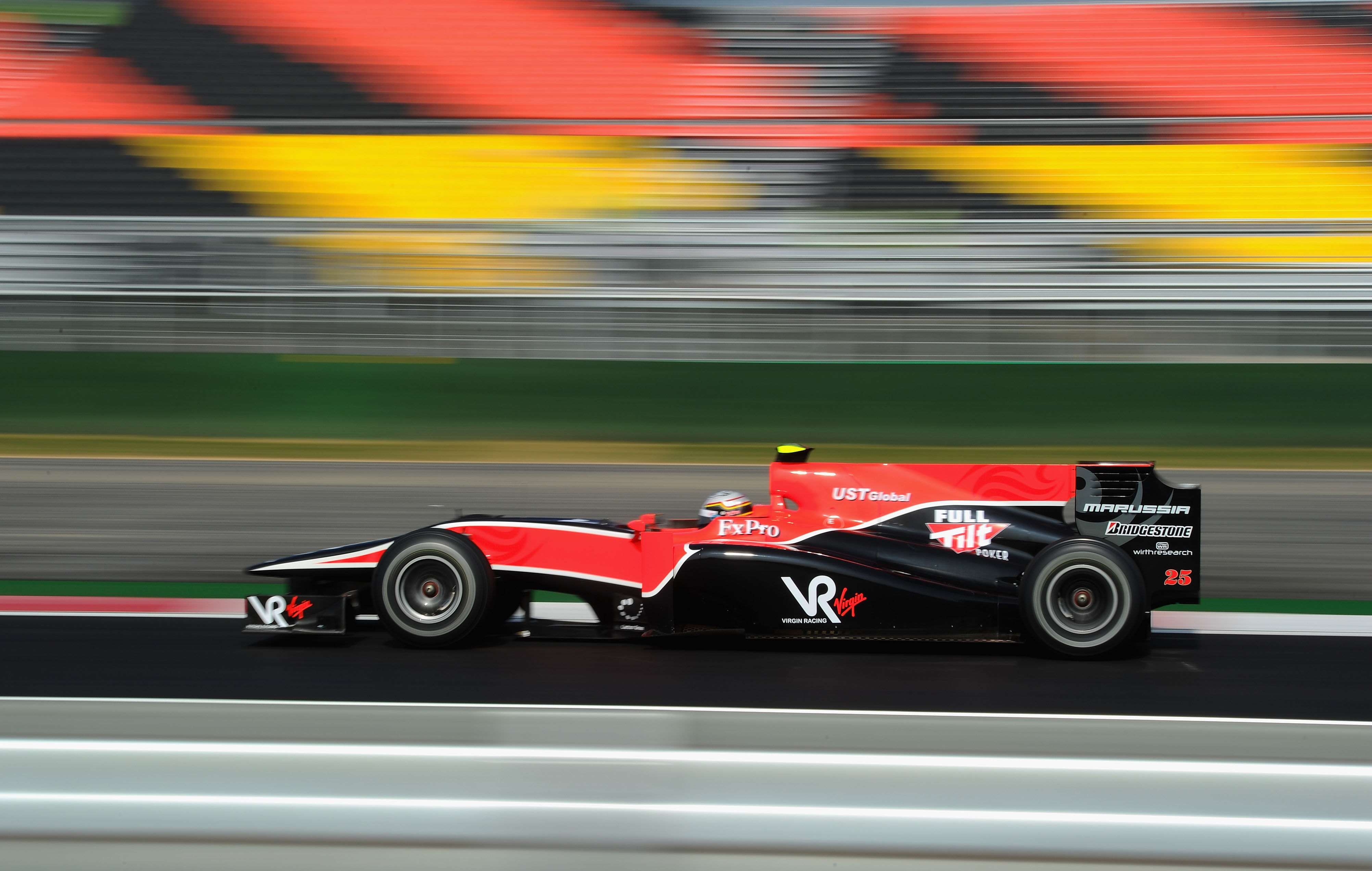 YEONGAM GUN, SOUTH KOREA - OCTOBER 22:  Jerome d'Ambrosio of Belgium and Virgin GP drives during practice for the Korean Formula One Grand Prix at the Korea International Circuit on October 22, 2010 in Yeongam-gun, South Korea.  (Photo by Clive Mason/Gett