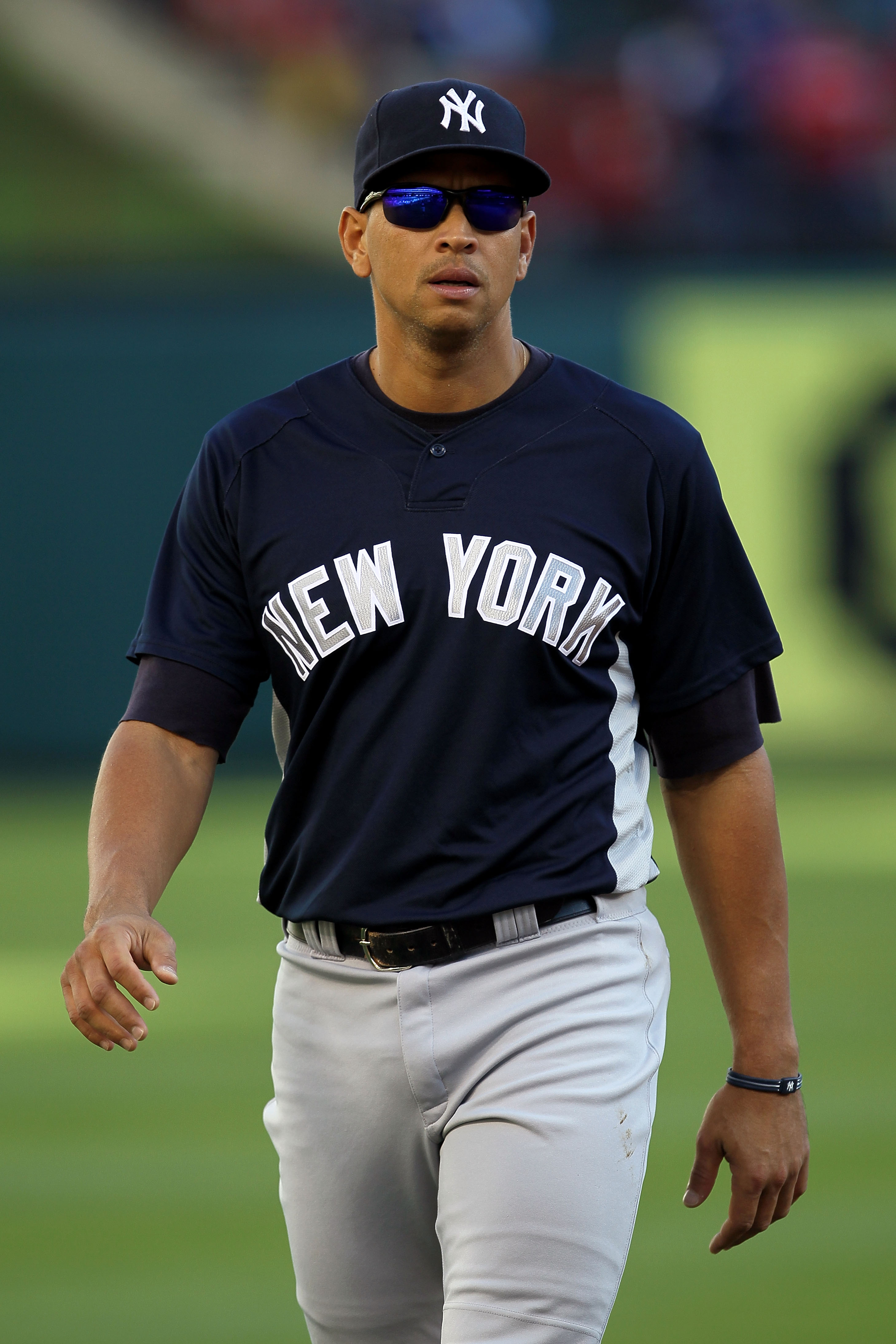 ARLINGTON, TX - OCTOBER 15:  Alex Rodriguez #13 of the New York Yankees looks on during batting practice against the Texas Rangers in Game One of the ALCS during the 2010 MLB Playoffs at Rangers Ballpark in Arlington on October 15, 2010 in Arlington, Texa