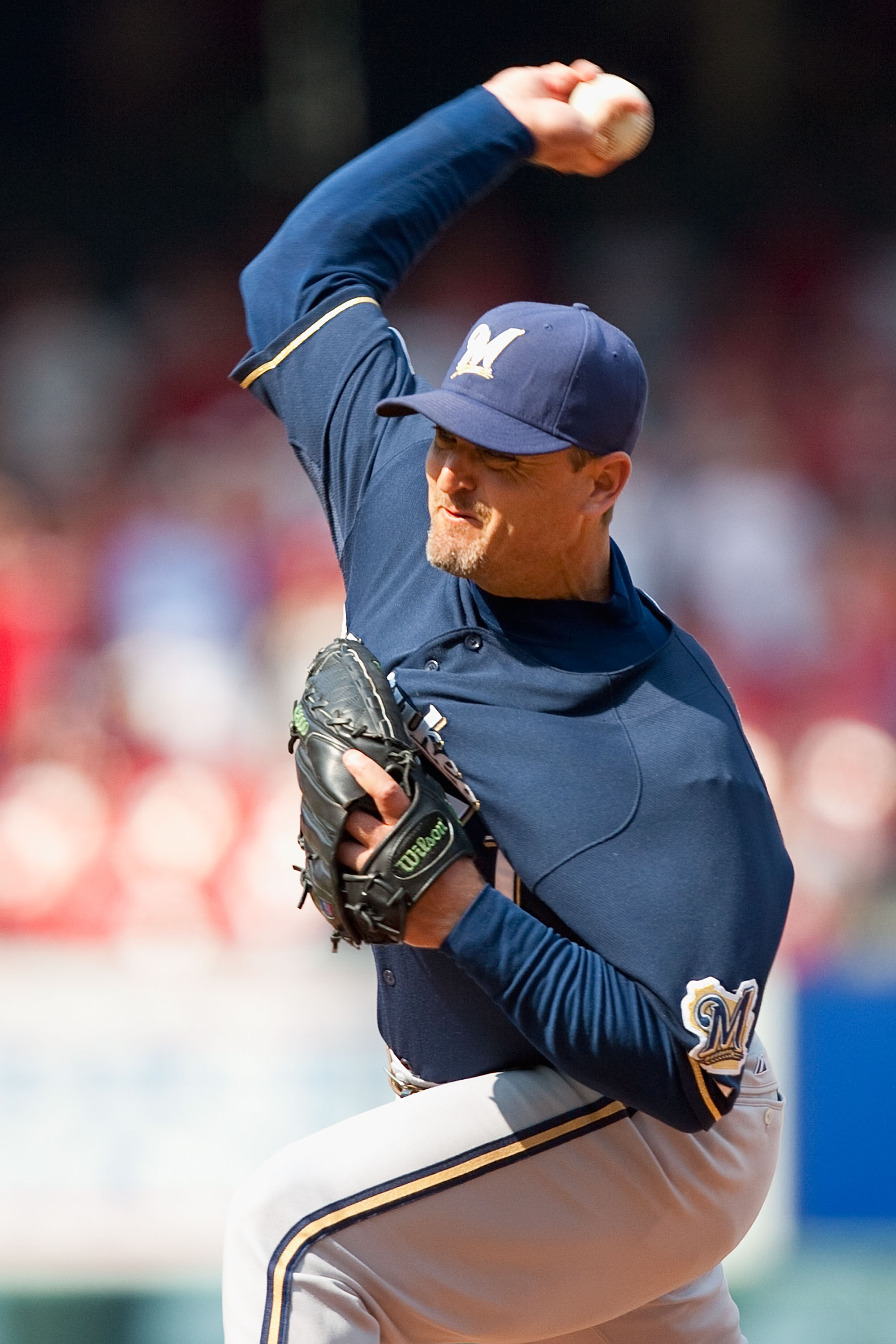 ST. LOUIS - AUGUST 18: Relief pitcher Trever Hoffman #51 of the Milwaukee Brewers throws against the St. Louis Cardinals at Busch Stadium on August 18, 2010 in St. Louis, Missouri.  The Brewers beat the Cardinals 3-2.  (Photo by Dilip Vishwanat/Getty Imag