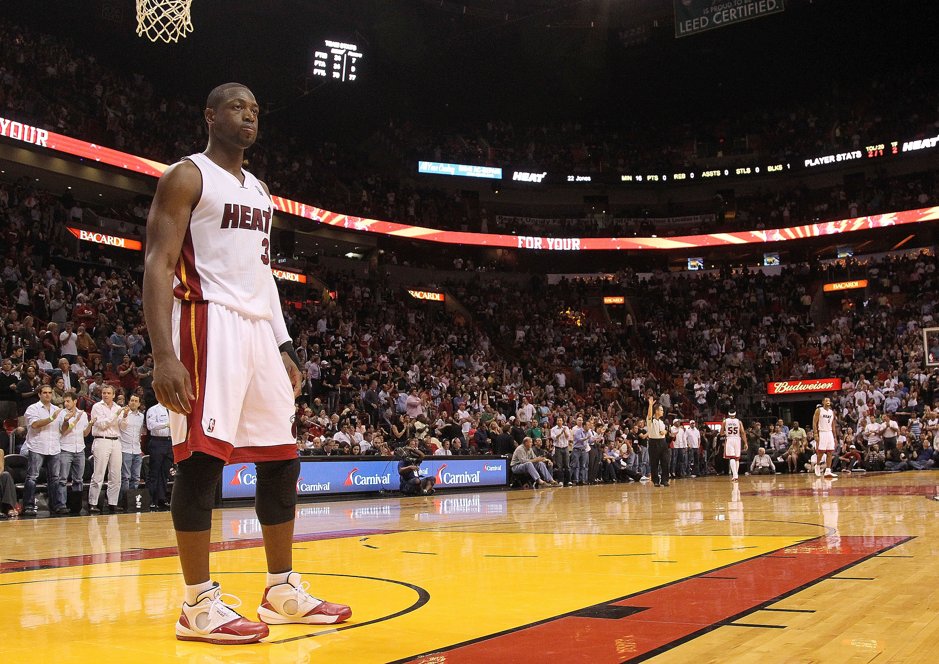 MIAMI - NOVEMBER 22:  Dwyane Wade #3 of the Miami Heat looks on during a game against the Indiana Pacers at American Airlines Arena on November 22, 2010 in Miami, Florida. NOTE TO USER: User expressly acknowledges and agrees that, by downloading and/or us