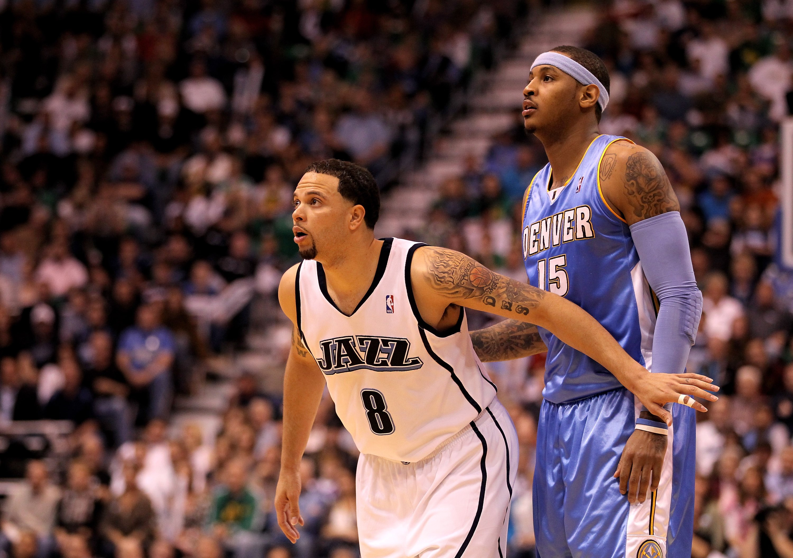 SALT LAKE CITY - APRIL 30:  Deron Williams #8 of the Utah Jazz boxes out Carmelo Anthony #15 of the Denver Nuggets in Game Six of the Western Conference Quarterfinals of the 2010 NBA Playoffs at EnergySolutions Arena on April 30, 2010 in Salt Lake City, U