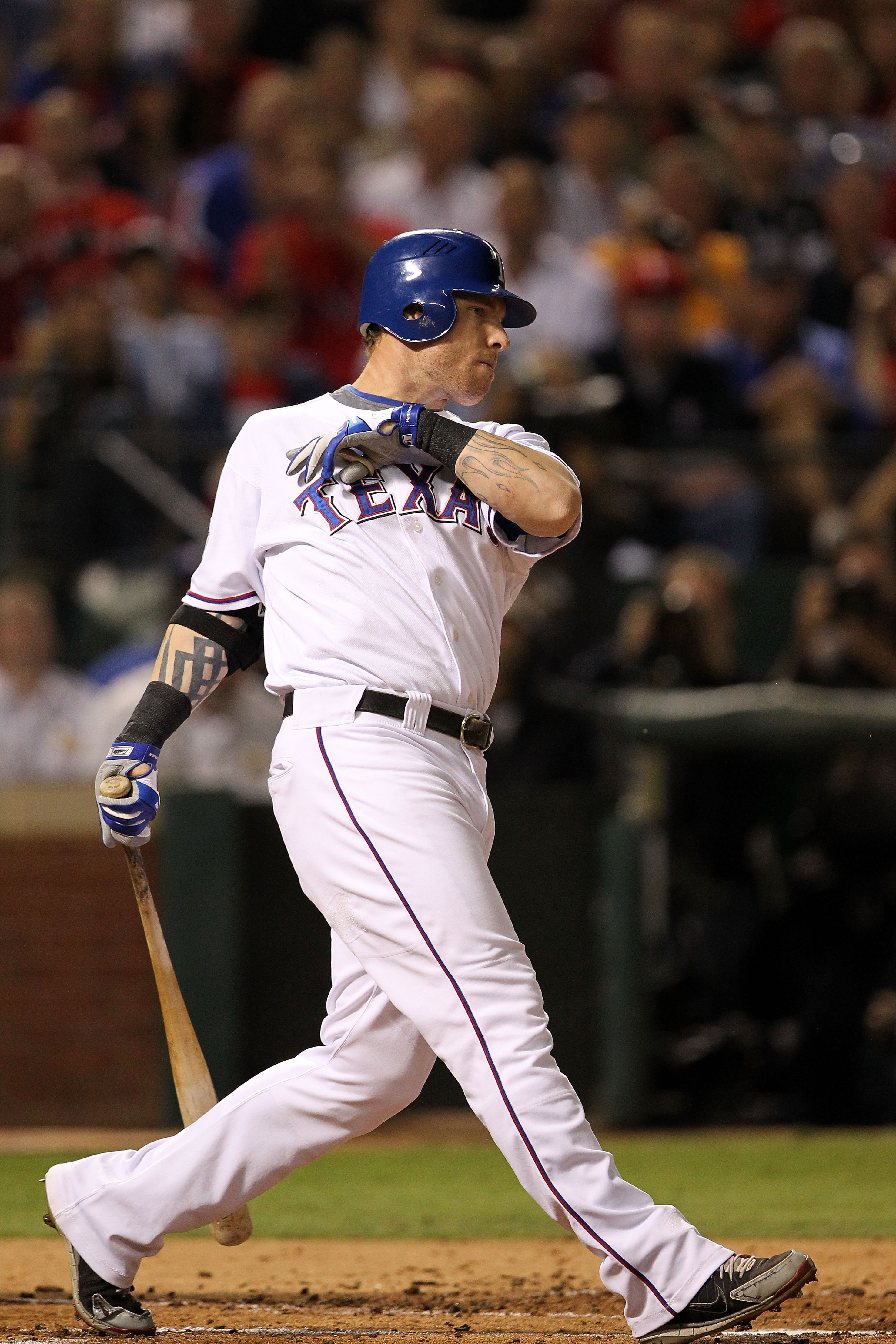 ARLINGTON, TX - NOVEMBER 01:  Josh Hamilton #32 of the Texas Rangers bats against the San Francisco Giants in Game Five of the 2010 MLB World Series at Rangers Ballpark in Arlington on November 1, 2010 in Arlington, Texas. The Giants won 3-1. (Photo by Ro