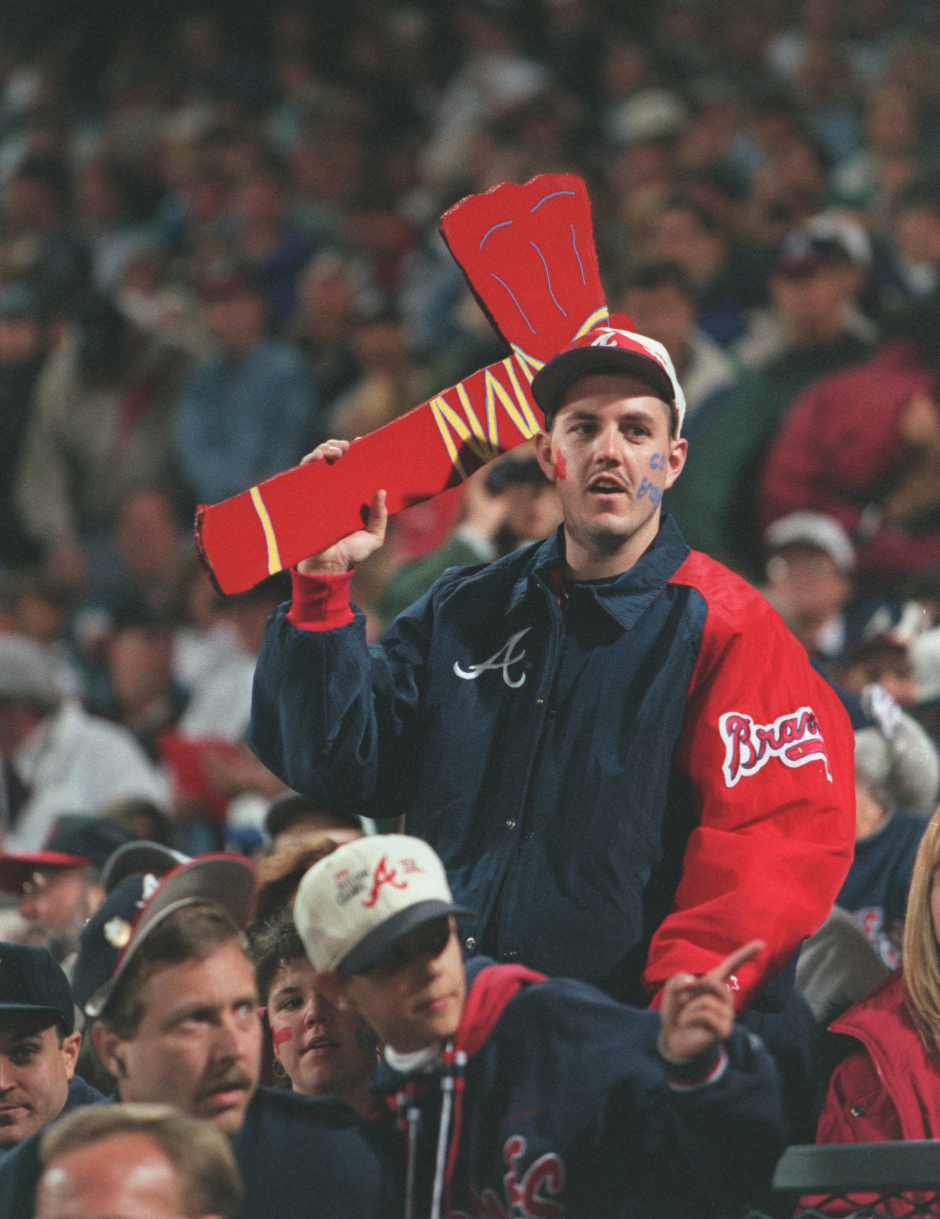 23 Oct 1996:  An Atlanta Braves fan performs the 'Tomahawk Chop' during game 4 of the World Series at Fulton County Stadium in Atlanta, Georgia. Mandatory Credit: Doug Pensinger/ALLSPORT