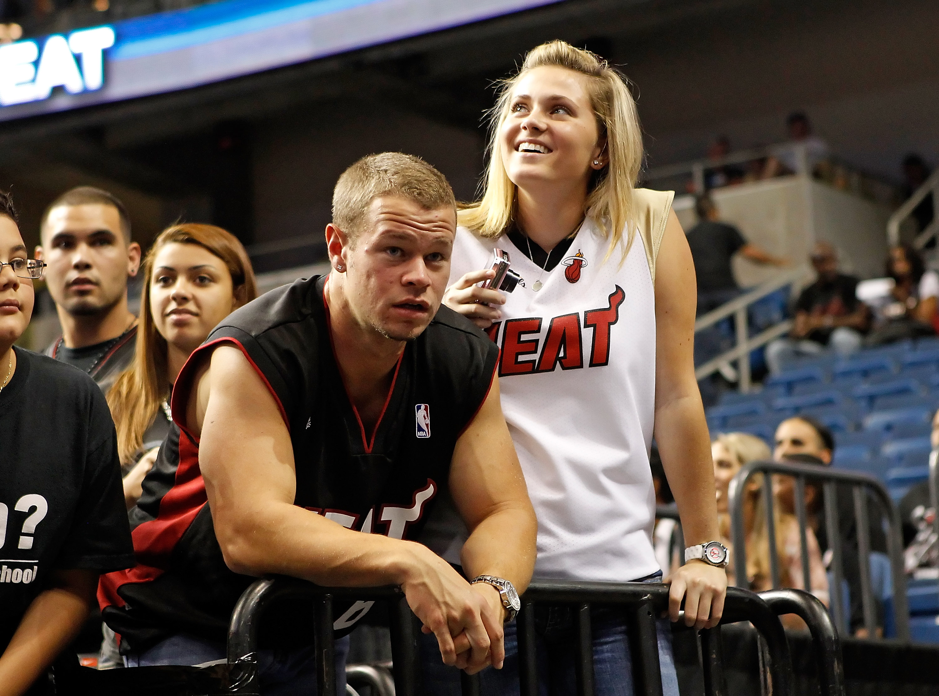 TAMPA, FL - OCTOBER 22:  Fans of the Miami Heat react to the game being cancelled due to a slippery court against the Orlando Magic at the St. Pete Times Forum on October 22, 2010 in Tampa, Florida.  NOTE TO USER: User expressly acknowledges and agrees th