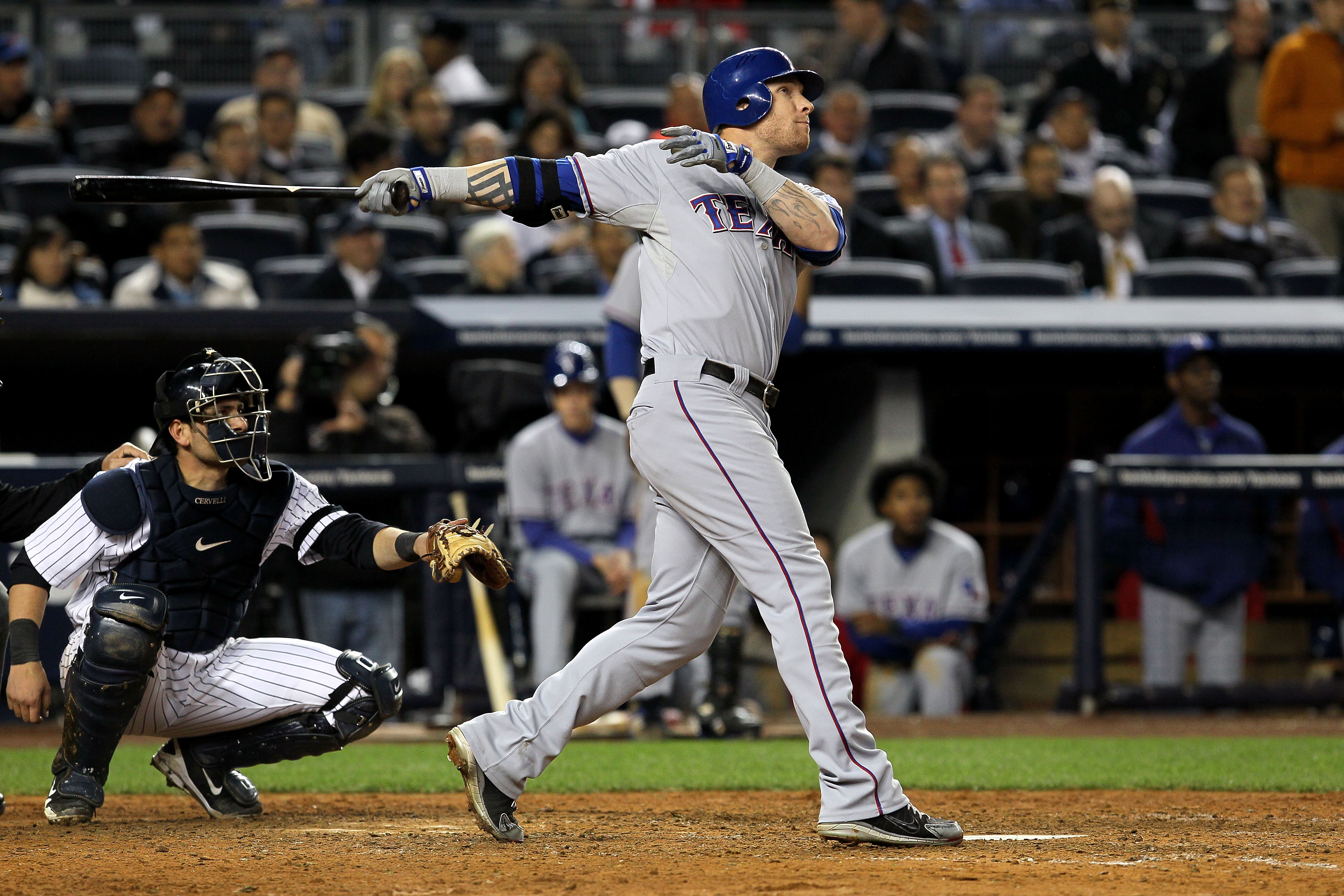 NEW YORK - OCTOBER 19:  Josh Hamilton #32 of the Texas Rangers hits a solo homerun in the ninth inning against the New York Yankees in Game Four of the ALCS during the 2010 MLB Playoffs at Yankee Stadium on October 19, 2010 in the Bronx borough of New Yor