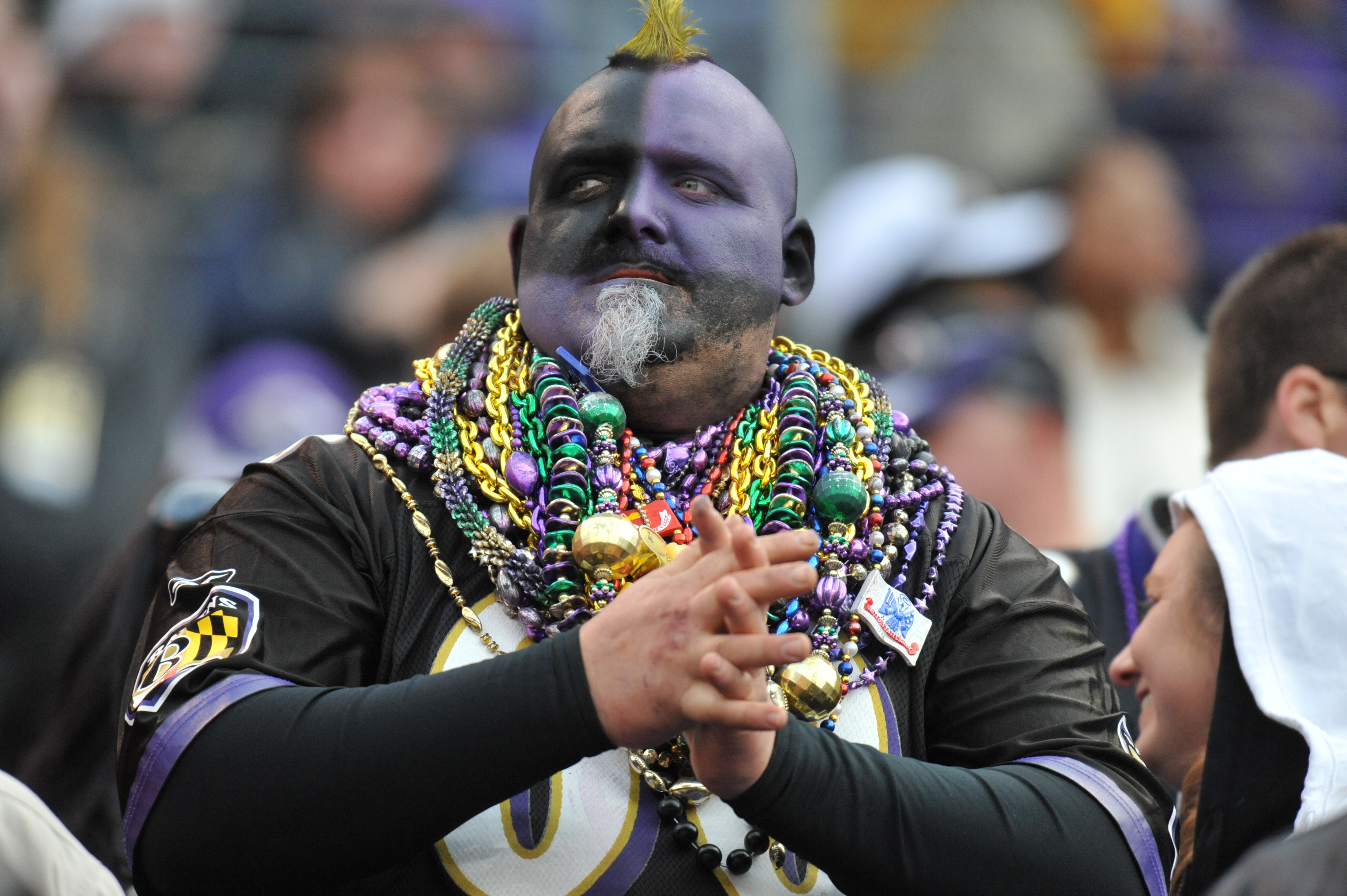 BALTIMORE, MD - NOVEMBER 7:  A fan of the Baltimore Ravens cheers against the Miami Dolphins at M&T Bank Stadium on November 7, 2010 in Baltimore, Maryland. The Ravens defeated the Dolphins 26-10. (Photo by Larry French/Getty Images)