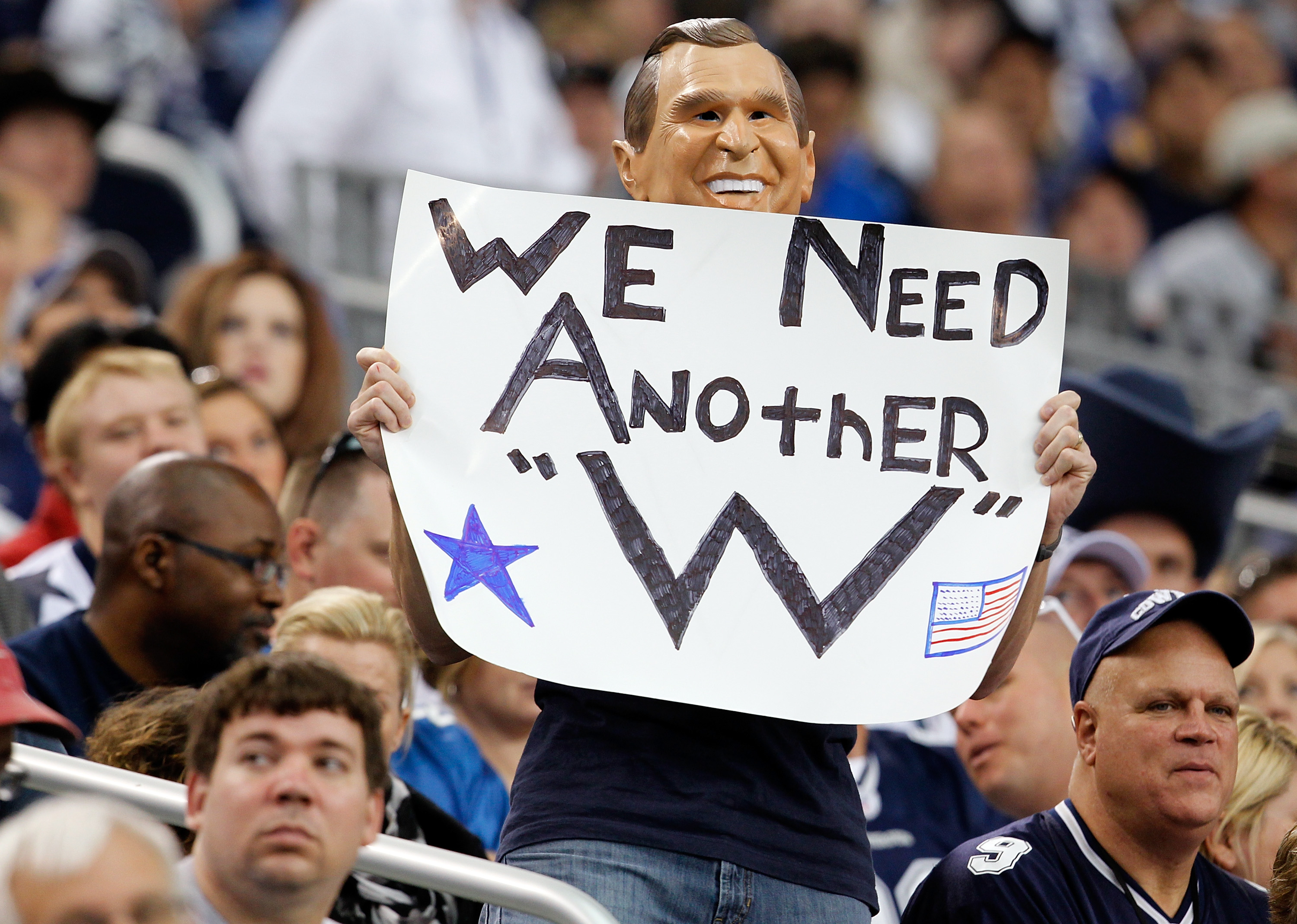 ARLINGTON, TX - NOVEMBER 21:  a Dallas Cowboys fan shows his support as the Dallas Cowboys take on the Detroit Lions at Cowboys Stadium on November 21, 2010 in Arlington, Texas.  The Cowboys beat the Lions 35-19.  (Photo by Tom Pennington/Getty Images)