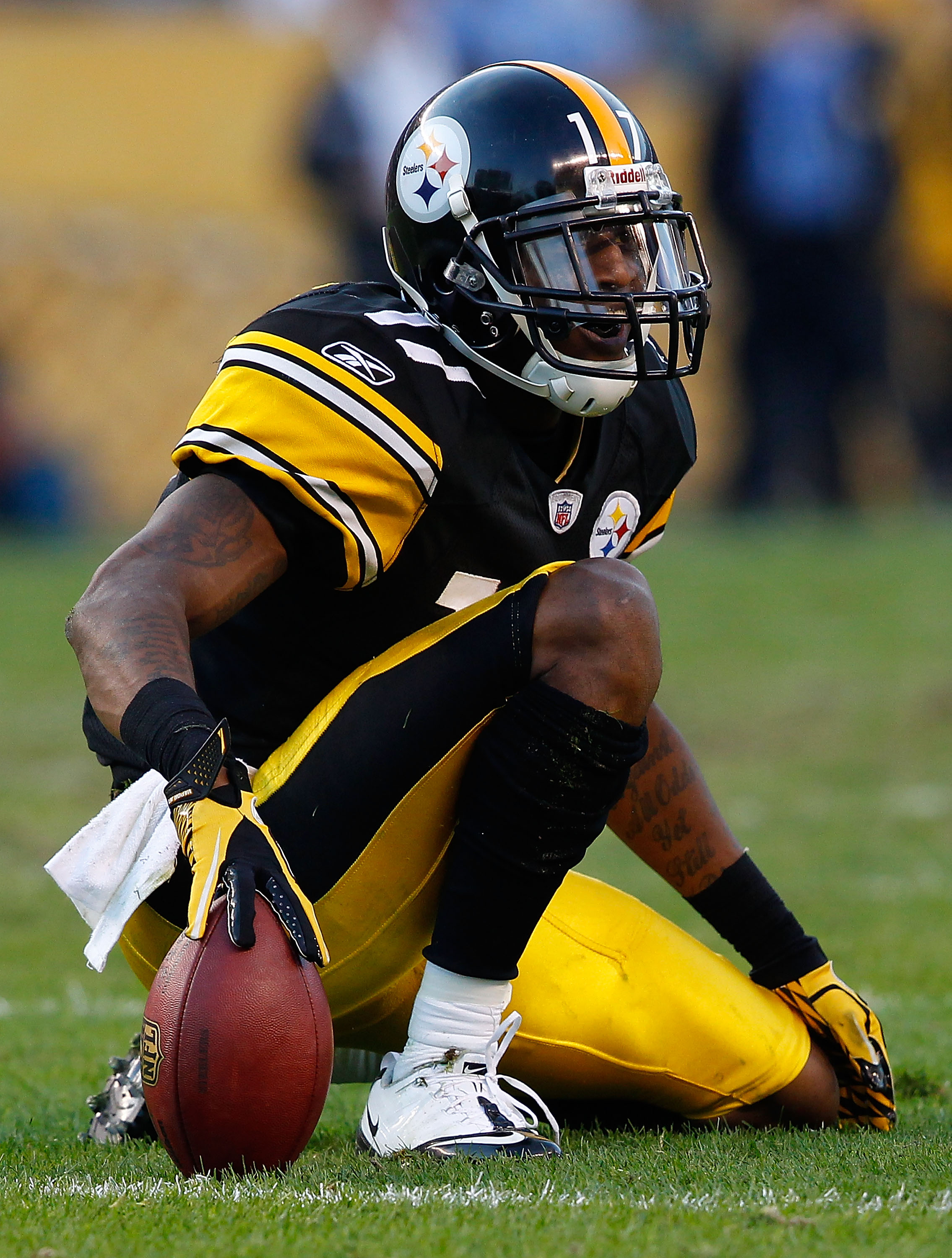 PITTSBURGH - NOVEMBER 21:  Mike Wallace #17 of the Pittsburgh Steelers celebrates after catching a pass for a first down against the Oakland Raiders during the game on November 21, 2010 at Heinz Field in Pittsburgh, Pennsylvania.  (Photo by Jared Wickerha