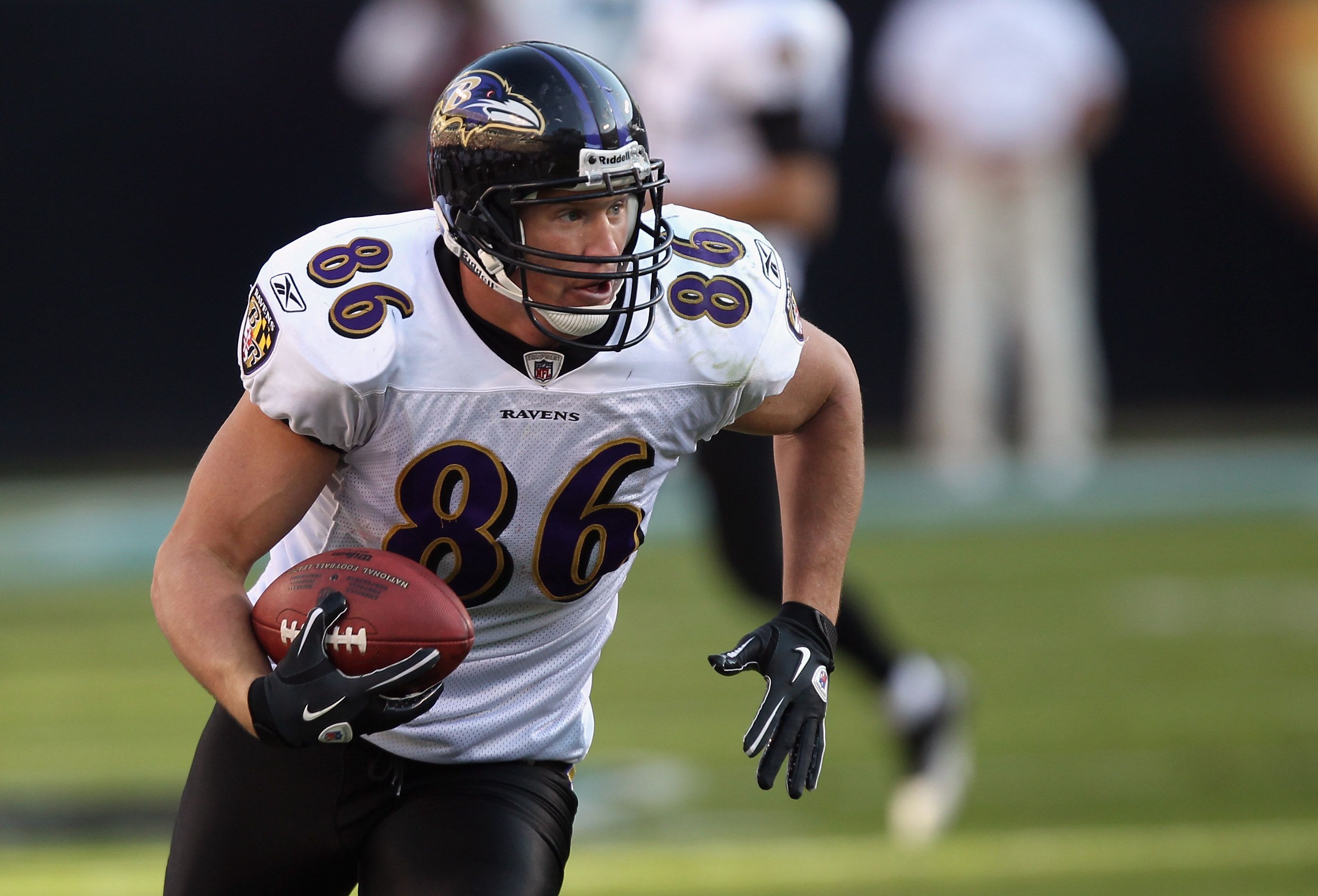 CHARLOTTE, NC - NOVEMBER 21:  Todd Heap #86 of the Baltimore Ravens against the Carolina Panthers at Bank of America Stadium on November 21, 2010 in Charlotte, North Carolina.  (Photo by Streeter Lecka/Getty Images)