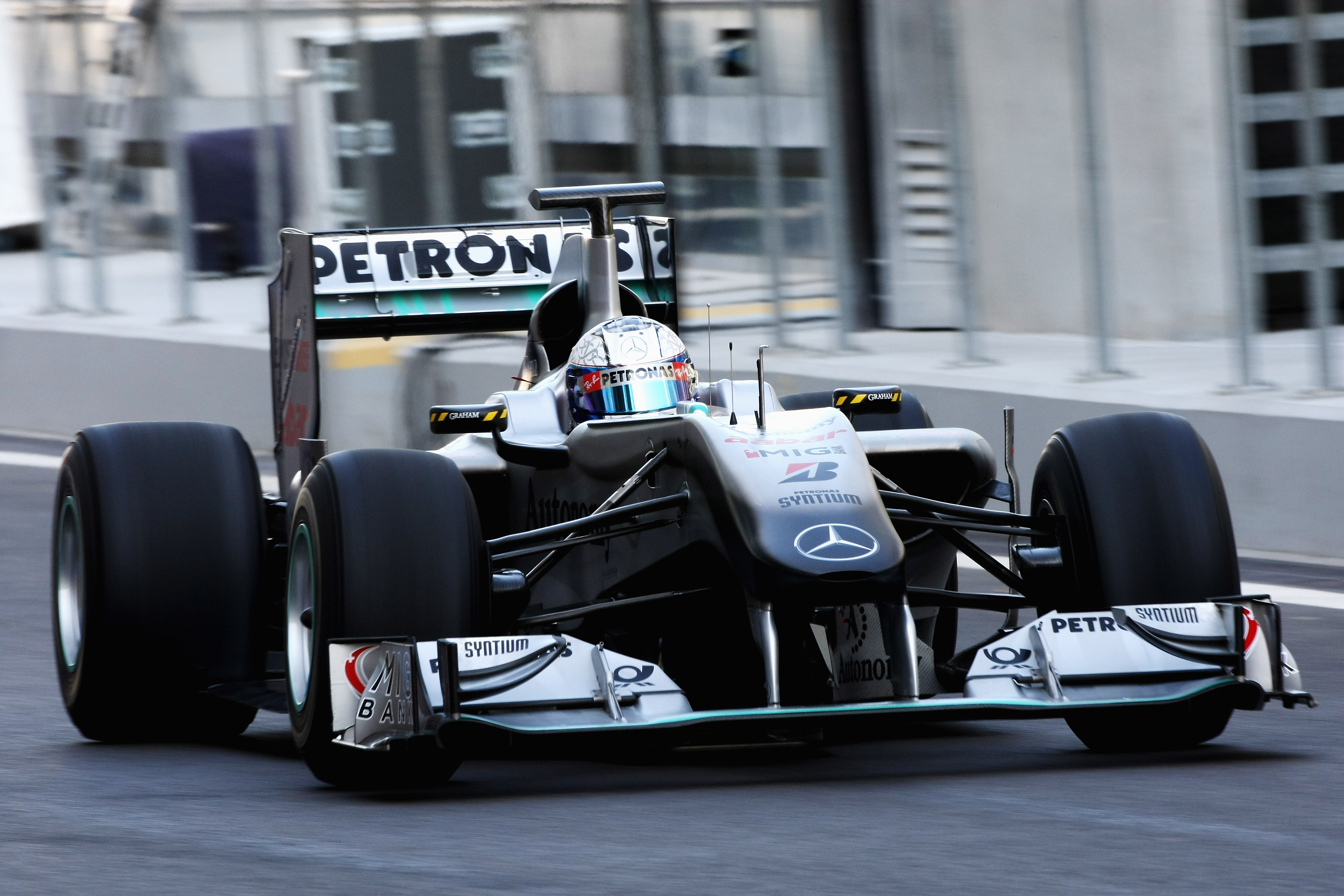 ABU DHABI, UNITED ARAB EMIRATES - NOVEMBER 16: Sam Bird of Great Britain and Mercedes GP F1 Team in action during the Young Driver Testing at the Yas Marina Circuit on November 16, 2010 in Abu Dhabi, United Arab Emirates. (Photo by Andrew Hone/Getty Image