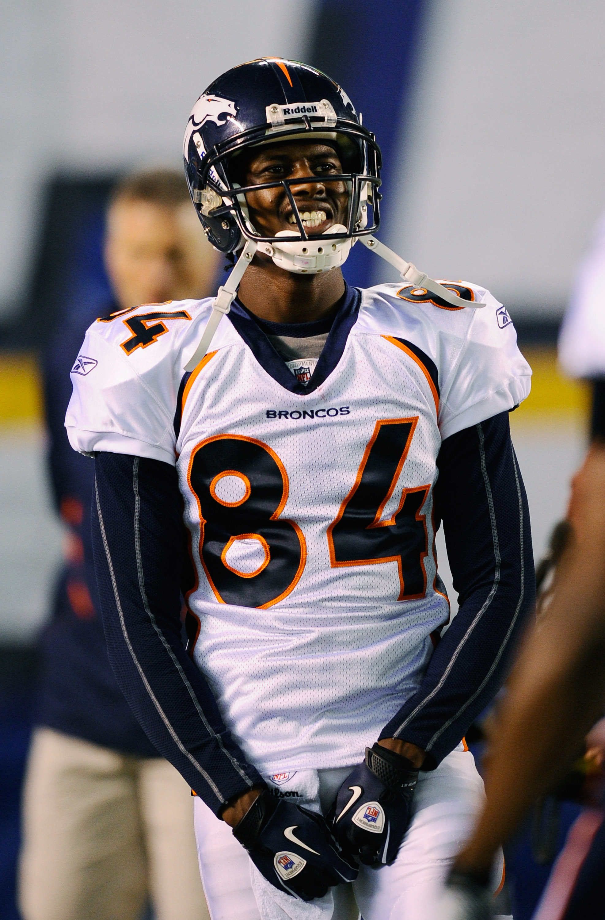 SAN DIEGO - NOVEMBER 22:  Wide receiver Brandon Lloyd #84 of the Denver Broncos warms up prior to the start of the football game against San Diego Chargers at Qualcomm Stadium on November 22, 2010 in San Diego, California.  (Photo by Kevork Djansezian/Get