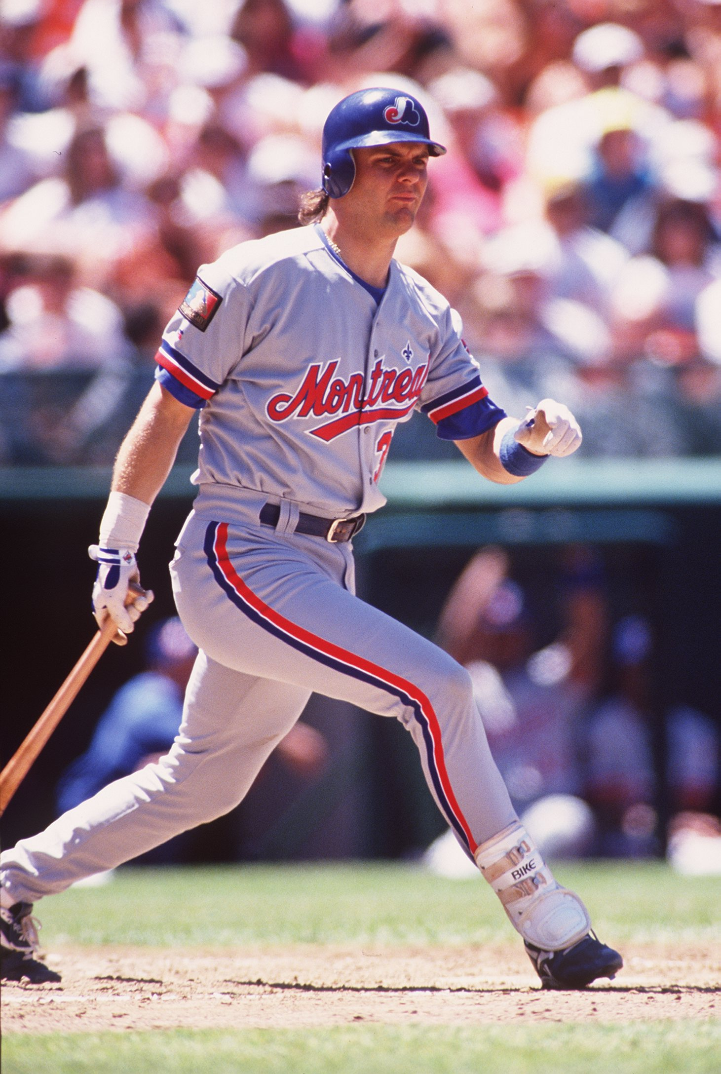 MONTREAL EXPOS OUTFIELDER LARRY WALKER BATS AGAINST THE GIANTS AT CANDLESTICK PARK IN SAN FRANCISCO.