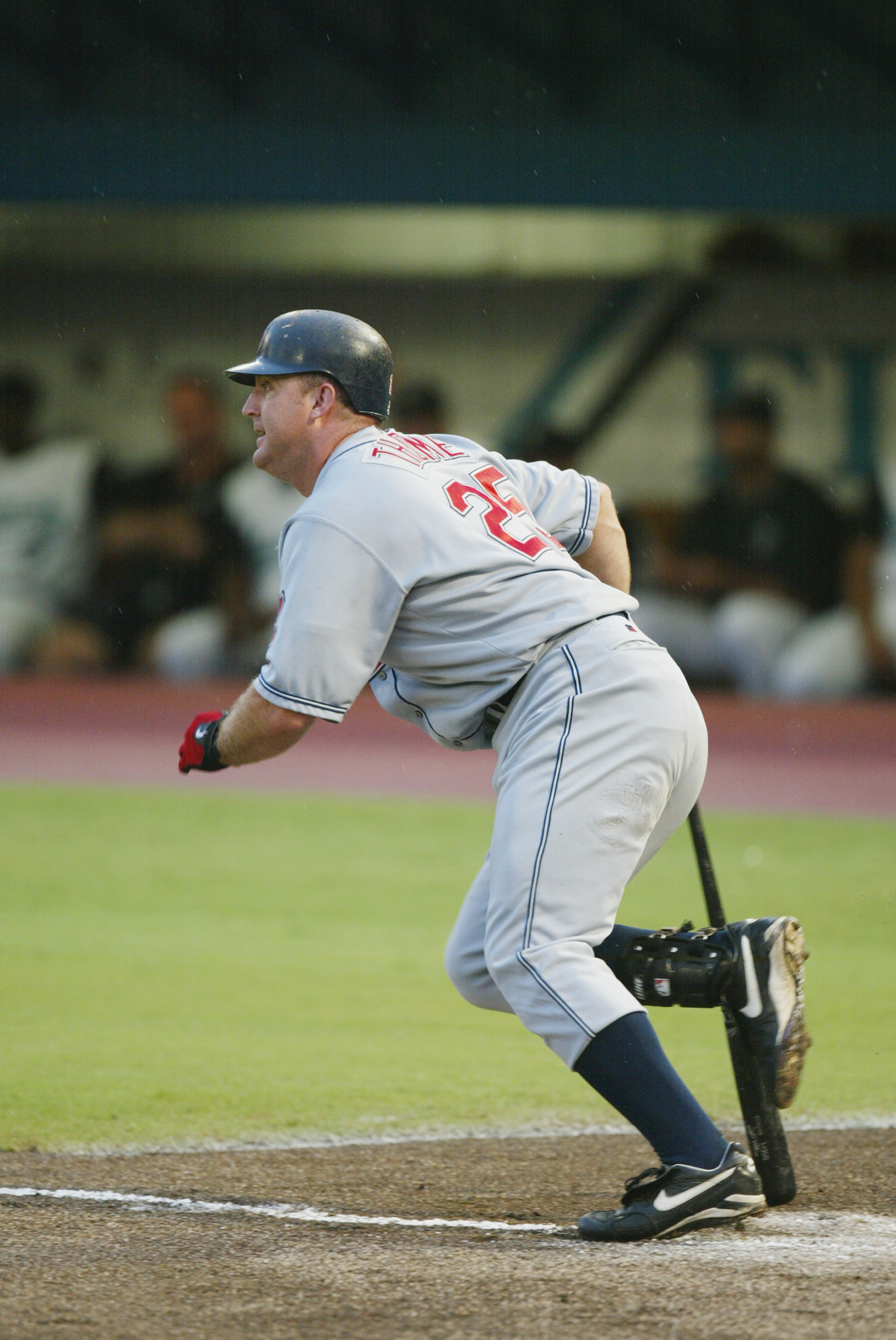 MIAMI - JUNE 20:  First baseman Jim Thome #25 of the Cleveland Indians watches the flight of the ball during the MLB game against the Florida Marlins on June 20, 2002 at Pro Player Stadium in Miami, Florida. The game was delayed in the 6th inning due to r