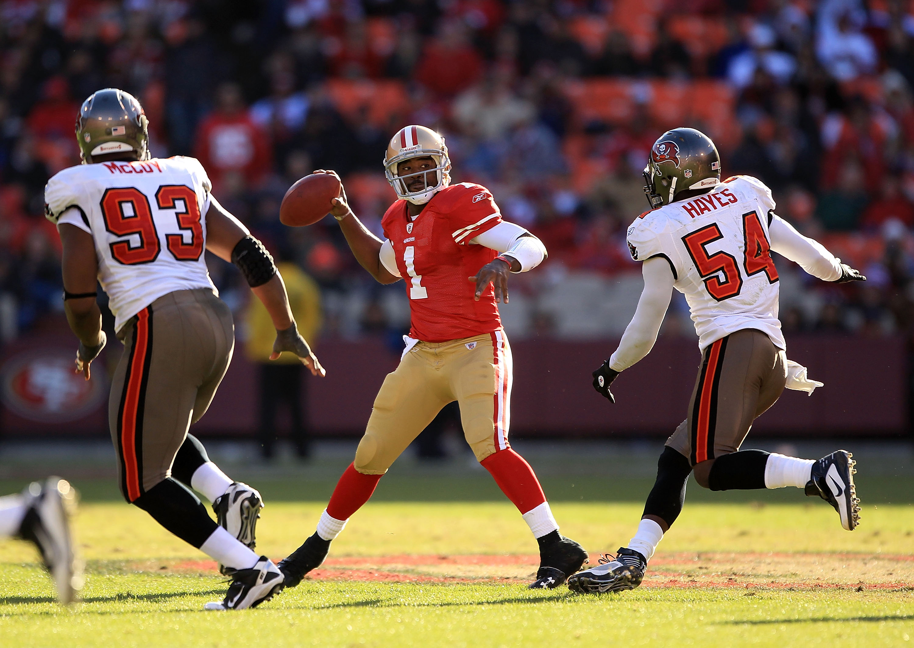 SAN FRANCISCO - NOVEMBER 21:  Troy Smith #1 of the San Francisco 49ers passes the ball against the Tampa Bay Buccaneers at Candlestick Park on November 21, 2010 in San Francisco, California.  (Photo by Ezra Shaw/Getty Images)