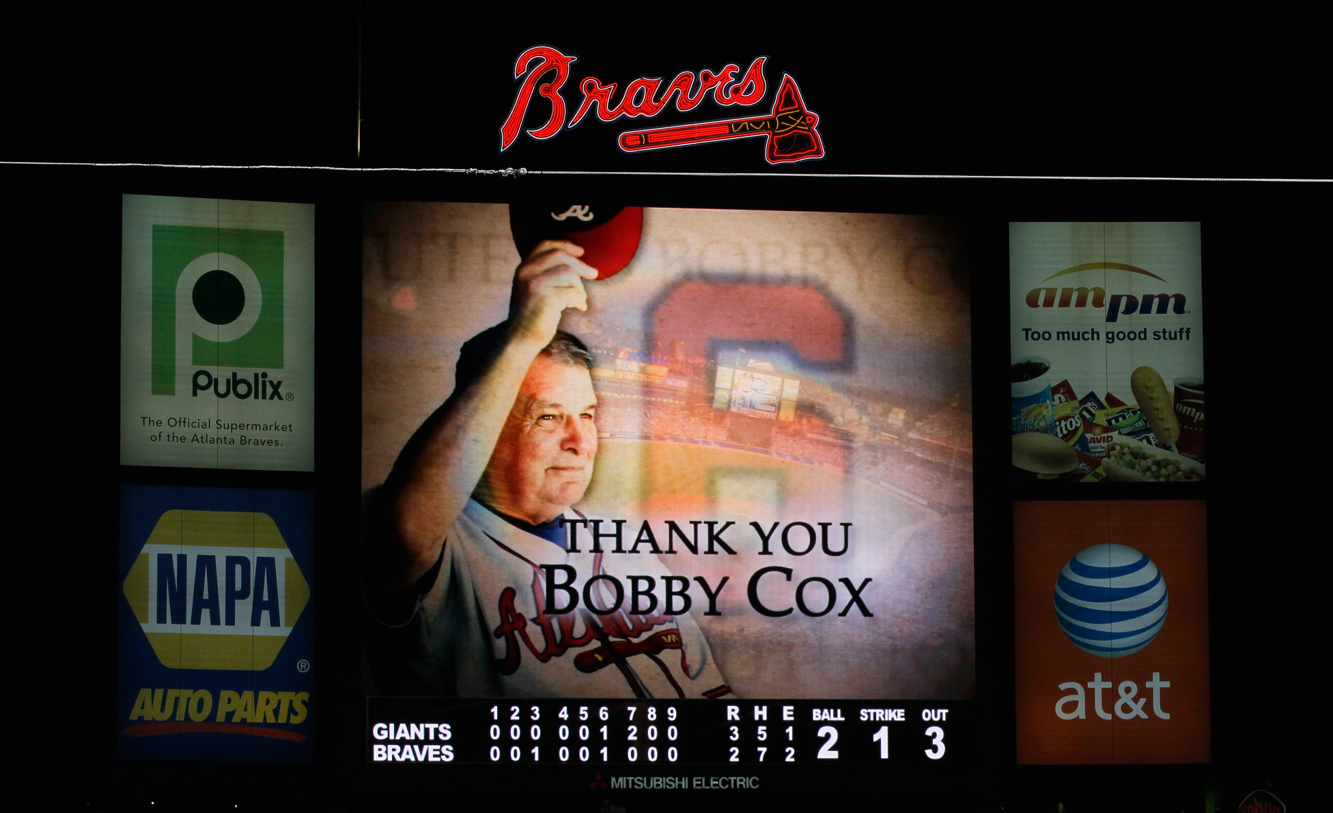 ATLANTA - OCTOBER 11:  A tribute to manager Bobby Cox #6 of the Atlanta Braves is shown on the jumbotron after their 3-2 loss to the San Francisco Giants during Game Four of the NLDS of the 2010 MLB Playoffs at Turner Field on October 11, 2010 in Atlanta,