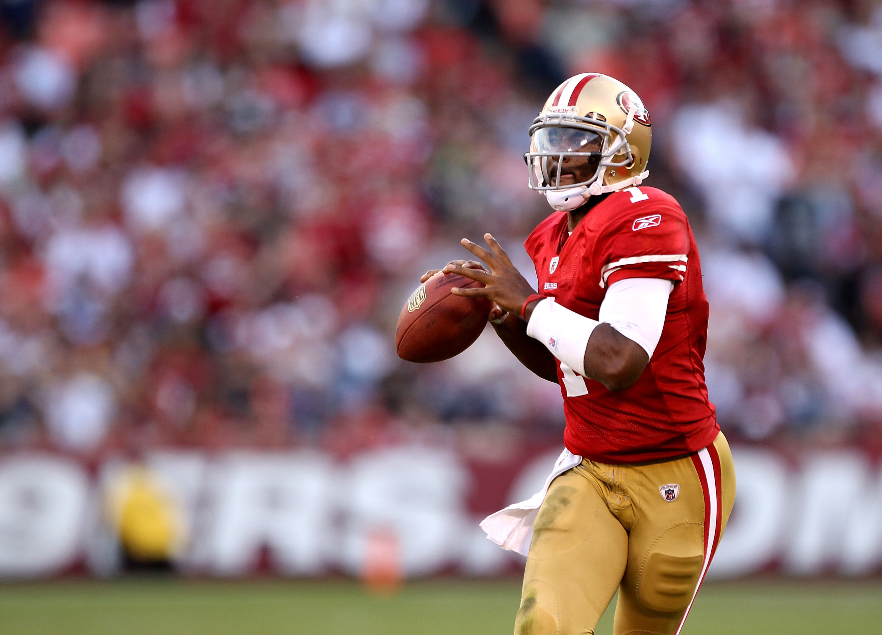 SAN FRANCISCO - NOVEMBER 14:  Troy Smith #49 of the San Francisco 49ers looks to pass the ball during their game against the St. Louis Rams at Candlestick Park on November 14, 2010 in San Francisco, California.  (Photo by Ezra Shaw/Getty Images)